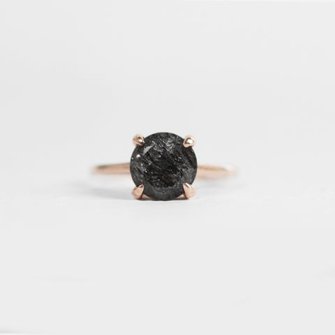 Elle Ring with a Black Tourmalated Rutilated Quartz in 14k Rose Gold - Ready to Size and Ship