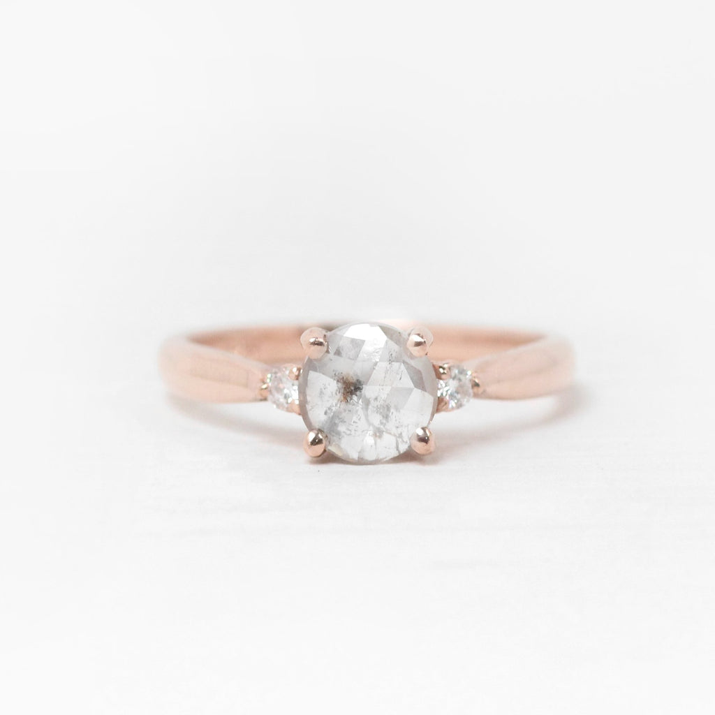 Terra Ring with Light Misty Celestial Diamond and Accent Diamonds - 10k Rose Gold - Ready to size and ship