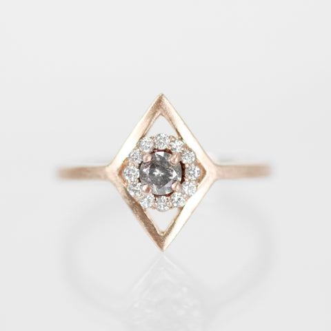 Lavern - Round Celestial Diamond with a Double Halo in 14k rose gold - Ready to Size and Ship