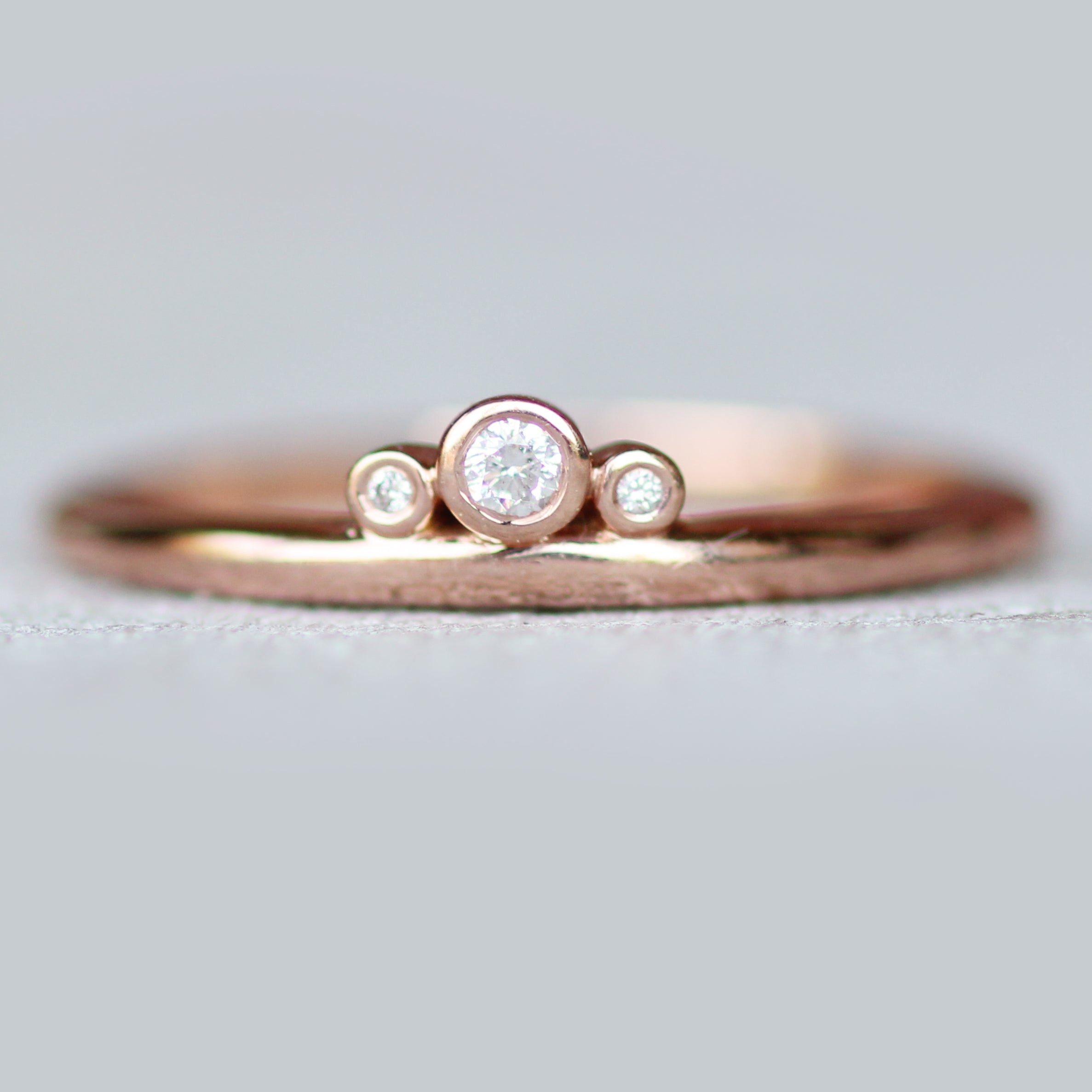 Trinity Ring with Bezel Set Diamonds in 10k Rose Gold - Ready to Size and Ship - Celestial Diamonds ® by Midwinter Co.