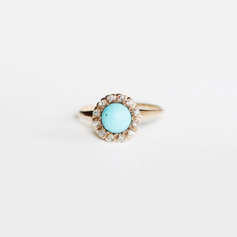 Antique - Turquoise and gray rose cut diamond halo ring in 14k yellow gold