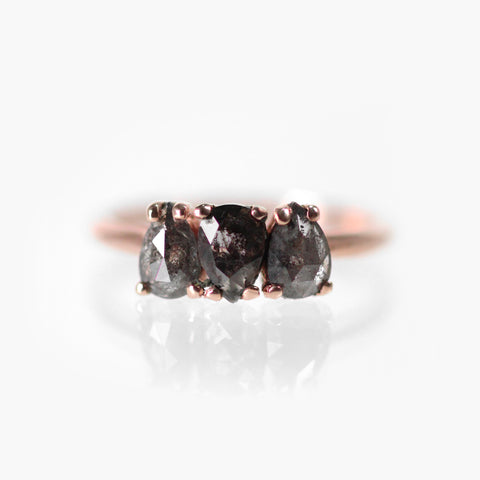Lorelai - Celestial Pear Diamond Trio Ring in 10k Rose Gold - Ready to Size and Ship
