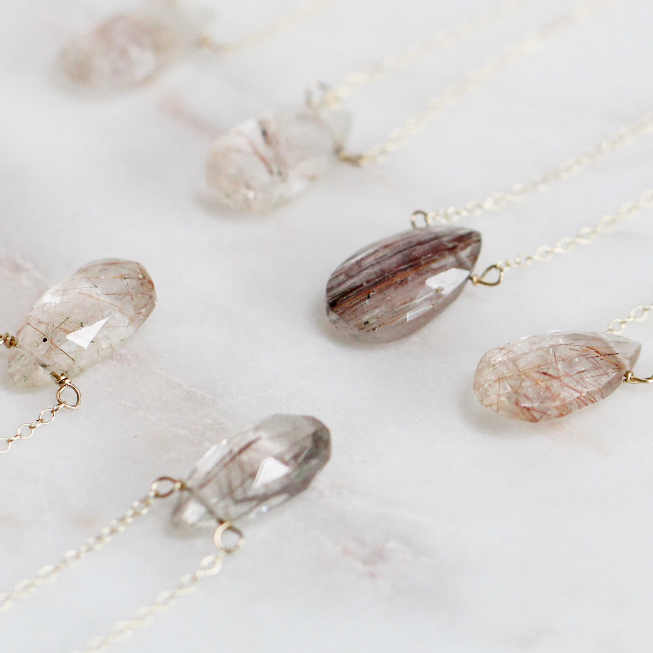 PICK a Copper Rutilated Quartz Pear Pendant Necklace - yellow gold fill chain - Salt & Pepper Celestial Diamond Engagement Rings and Wedding Bands  by Midwinter Co.