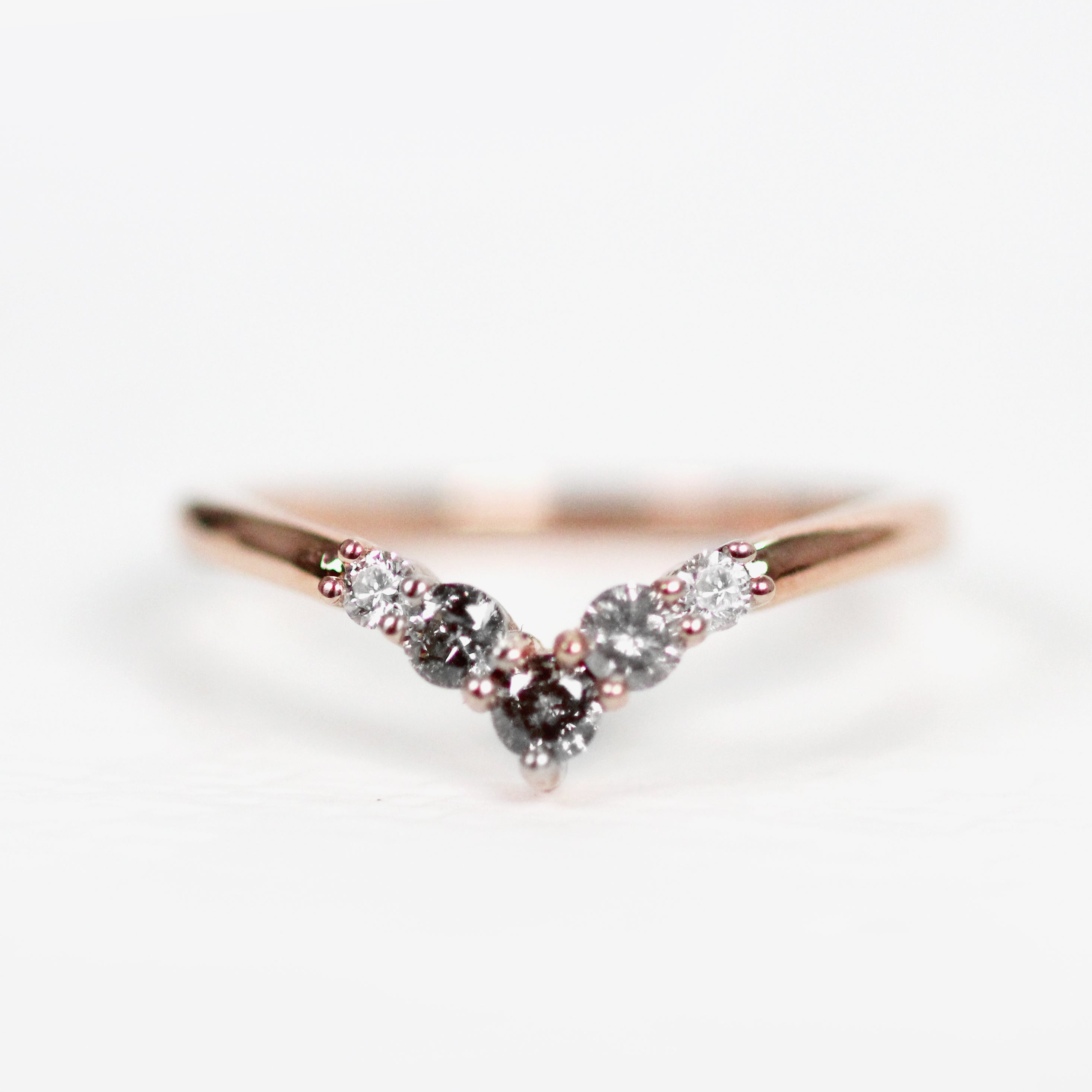 Rhiannon gray diamond band - Contour Point V Shape Diamond Band - Gold of choice - Celestial Diamonds ® by Midwinter Co.