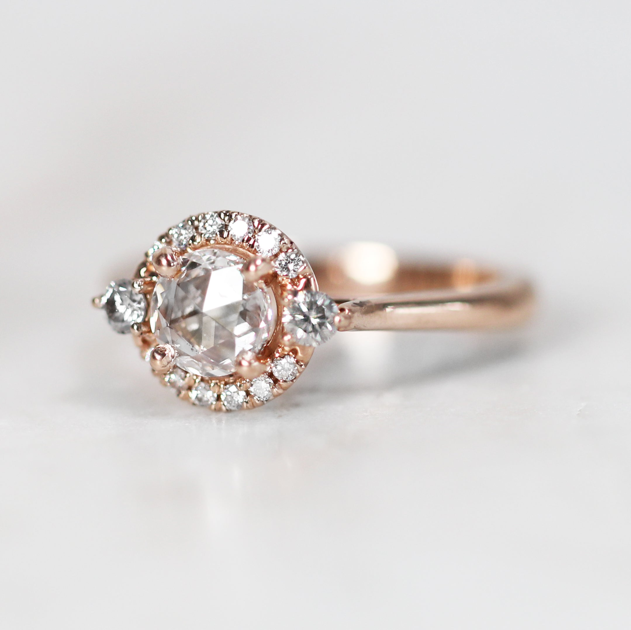 Vanessa Ring with .41 carat Rose Cut Round Diamond in 10k Rose Gold - Ready to Size and Ship - Salt & Pepper Celestial Diamond Engagement Rings and Wedding Bands  by Midwinter Co.