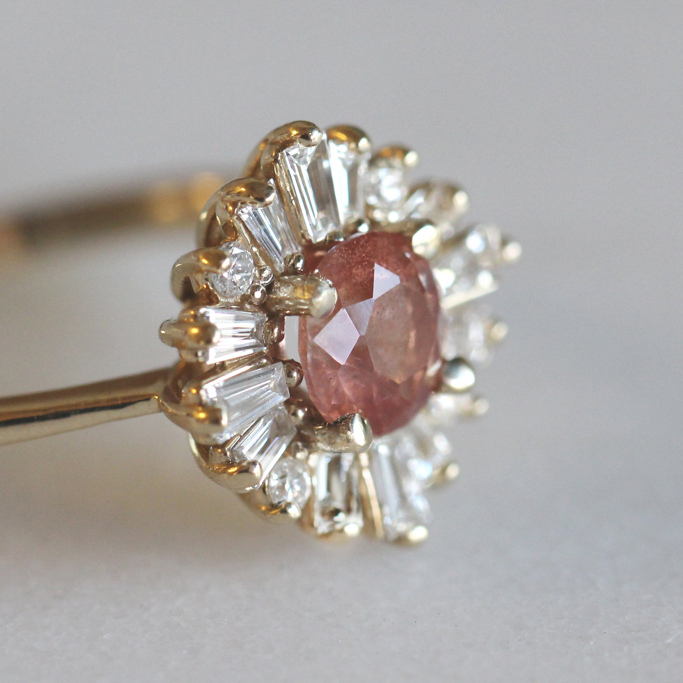 Veda Ring with a Oregon Sunstone and Diamonds in 10k Yellow Gold - Ready to Size and Ship