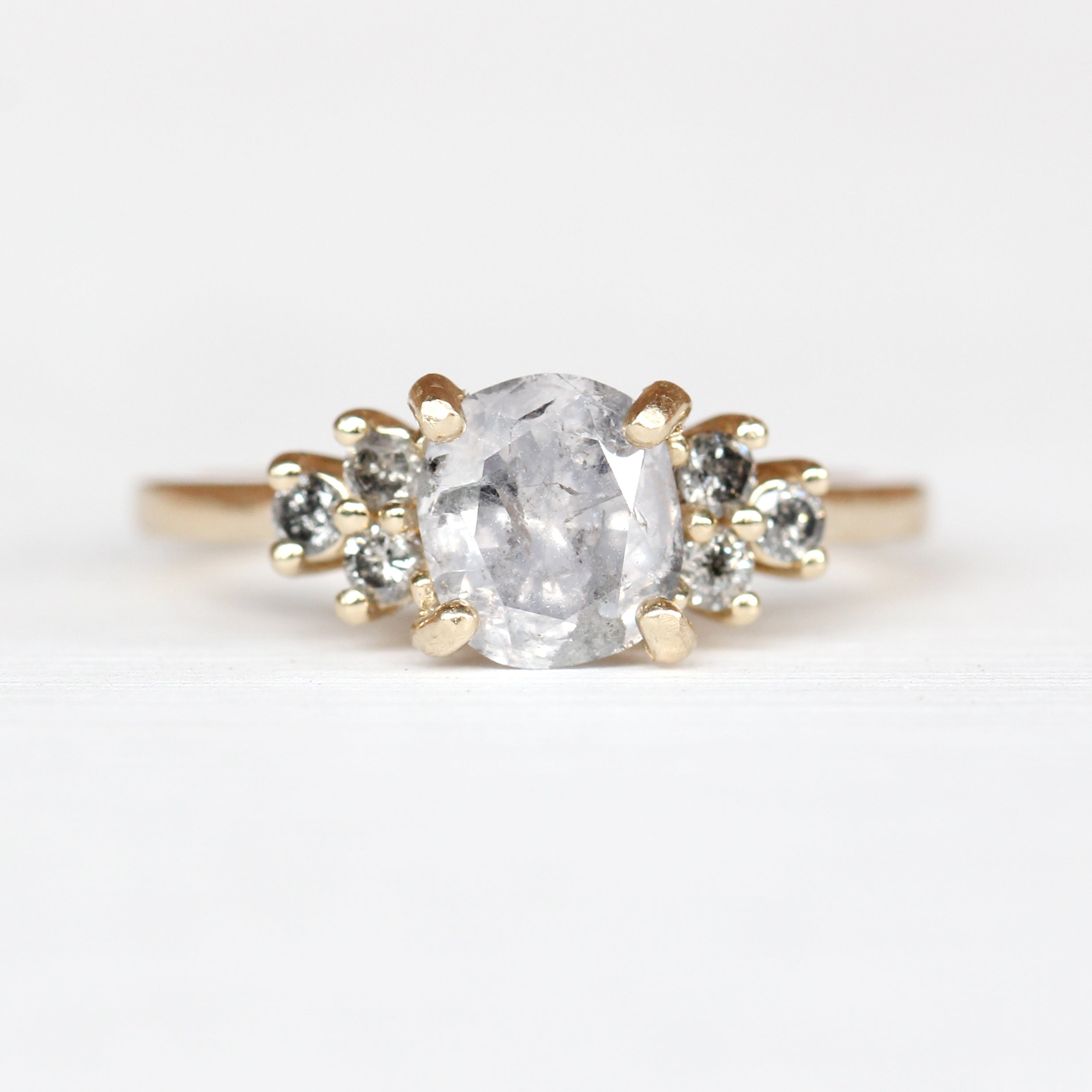 Veragene Ring with a 1.5ct Light Gray Celestial Cushion Diamond in 14k Yellow Gold - Ready to Size and Ship