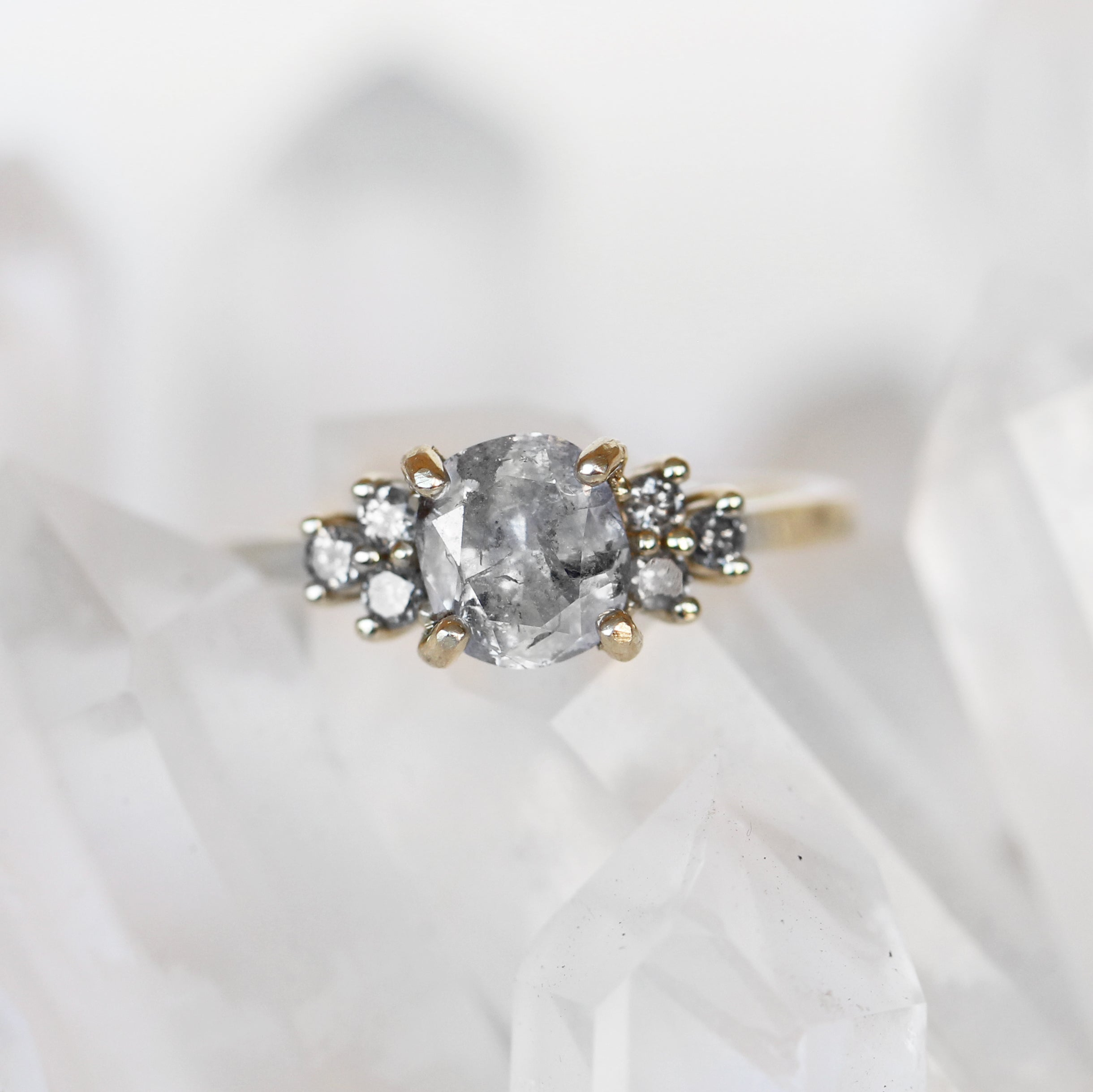 Veragene Ring with a 1.5ct Light Gray Celestial Cushion Diamond in 14k Yellow Gold - Ready to Size and Ship - Celestial Diamonds ® by Midwinter Co.