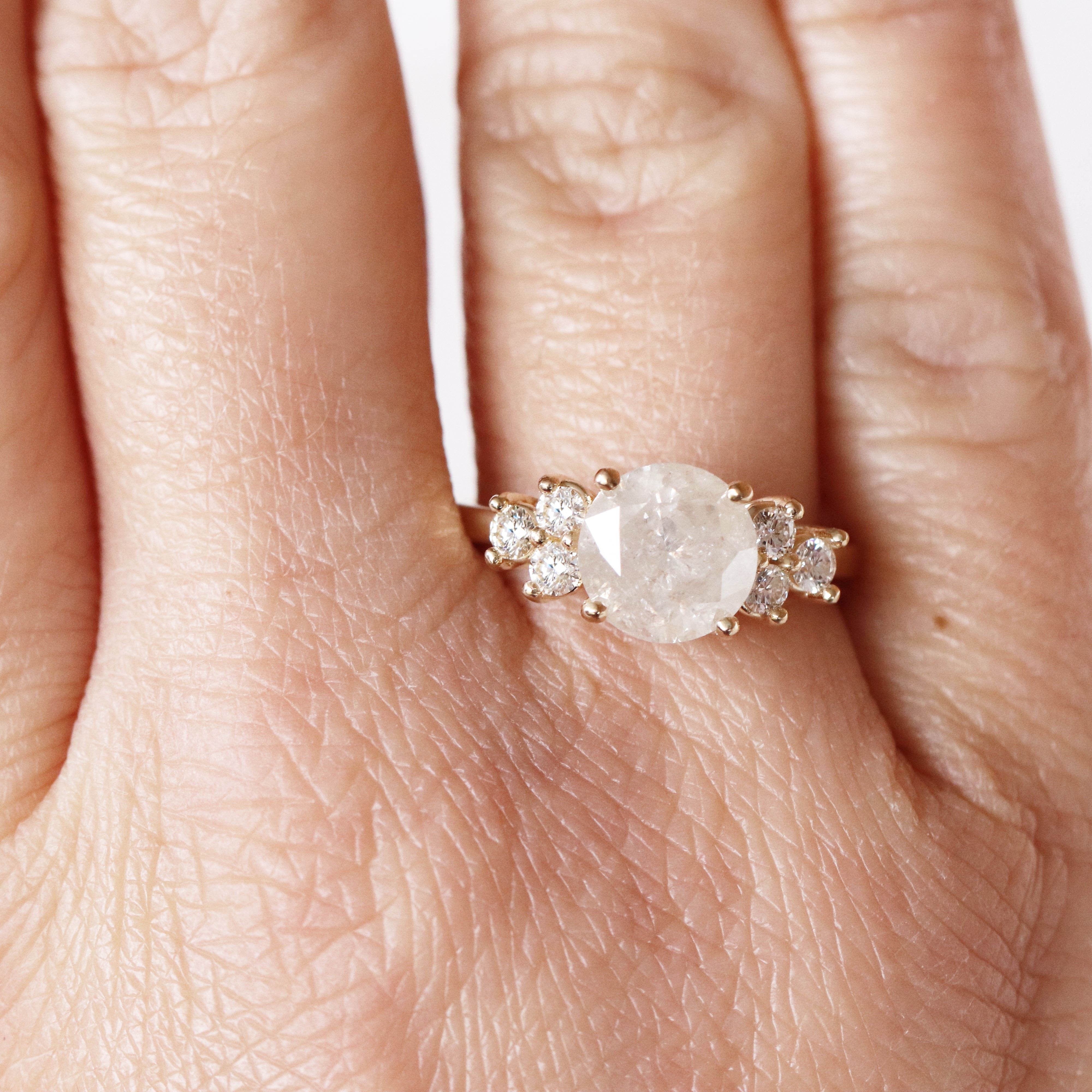 Veragene Ring with a 2.58 Carat Celestial Diamond in 14k Yellow Gold - Ready to Size and Ship - Salt & Pepper Celestial Diamond Engagement Rings and Wedding Bands  by Midwinter Co.