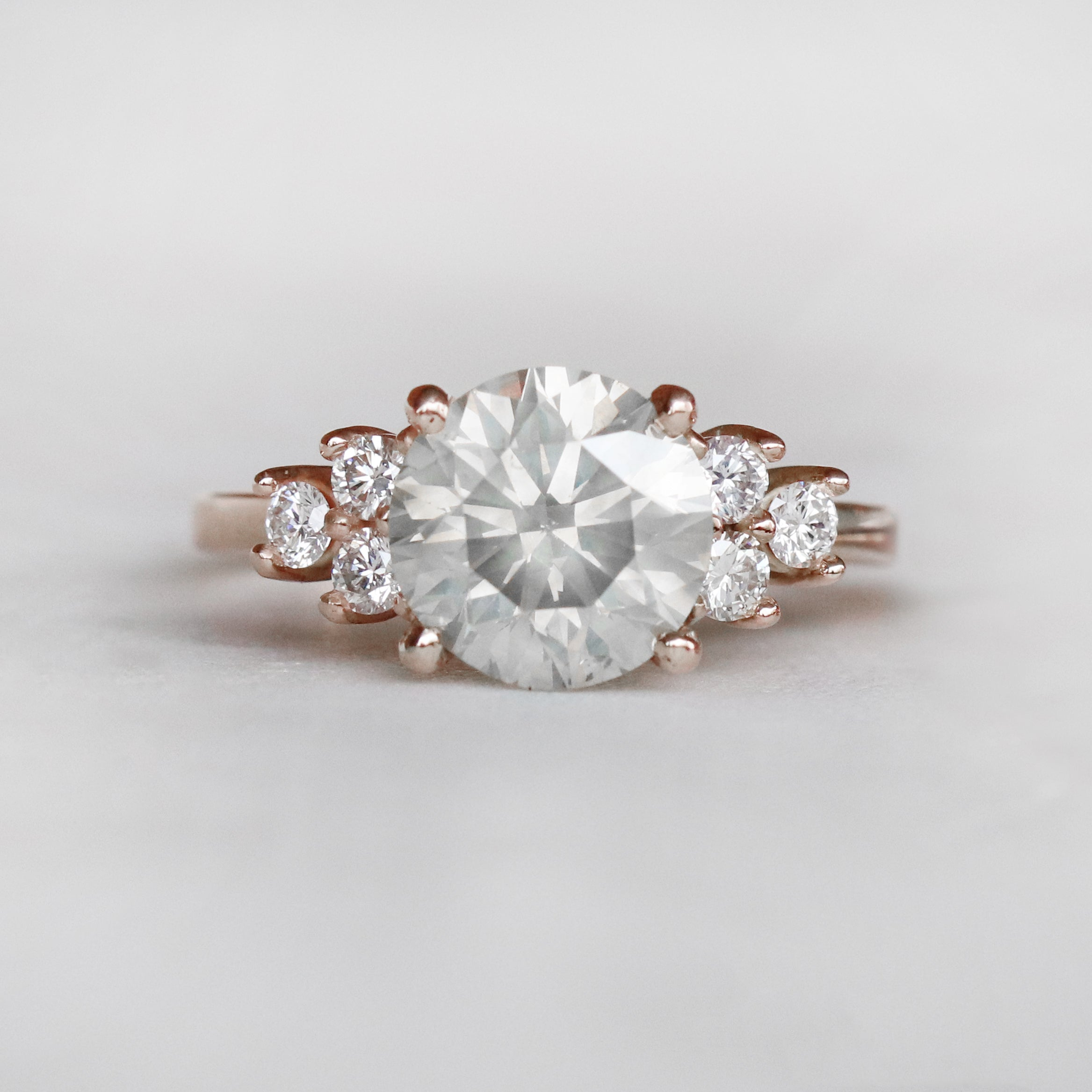 Veragene Ring with a 3 carat Celestial GIA Certified Diamond in 14k Rose Gold - Ready to Size and Ship - Salt & Pepper Celestial Diamond Engagement Rings and Wedding Bands  by Midwinter Co.