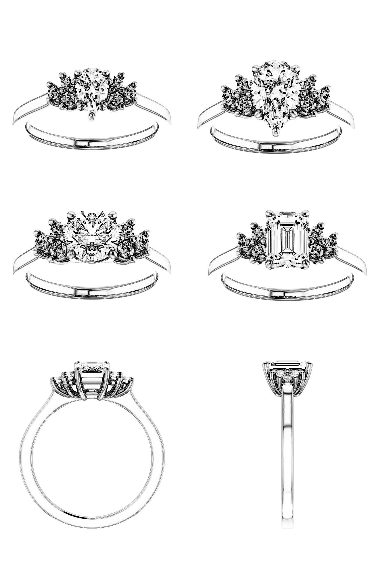 Veragene setting - Salt & Pepper Celestial Diamond Engagement Rings and Wedding Bands  by Midwinter Co.