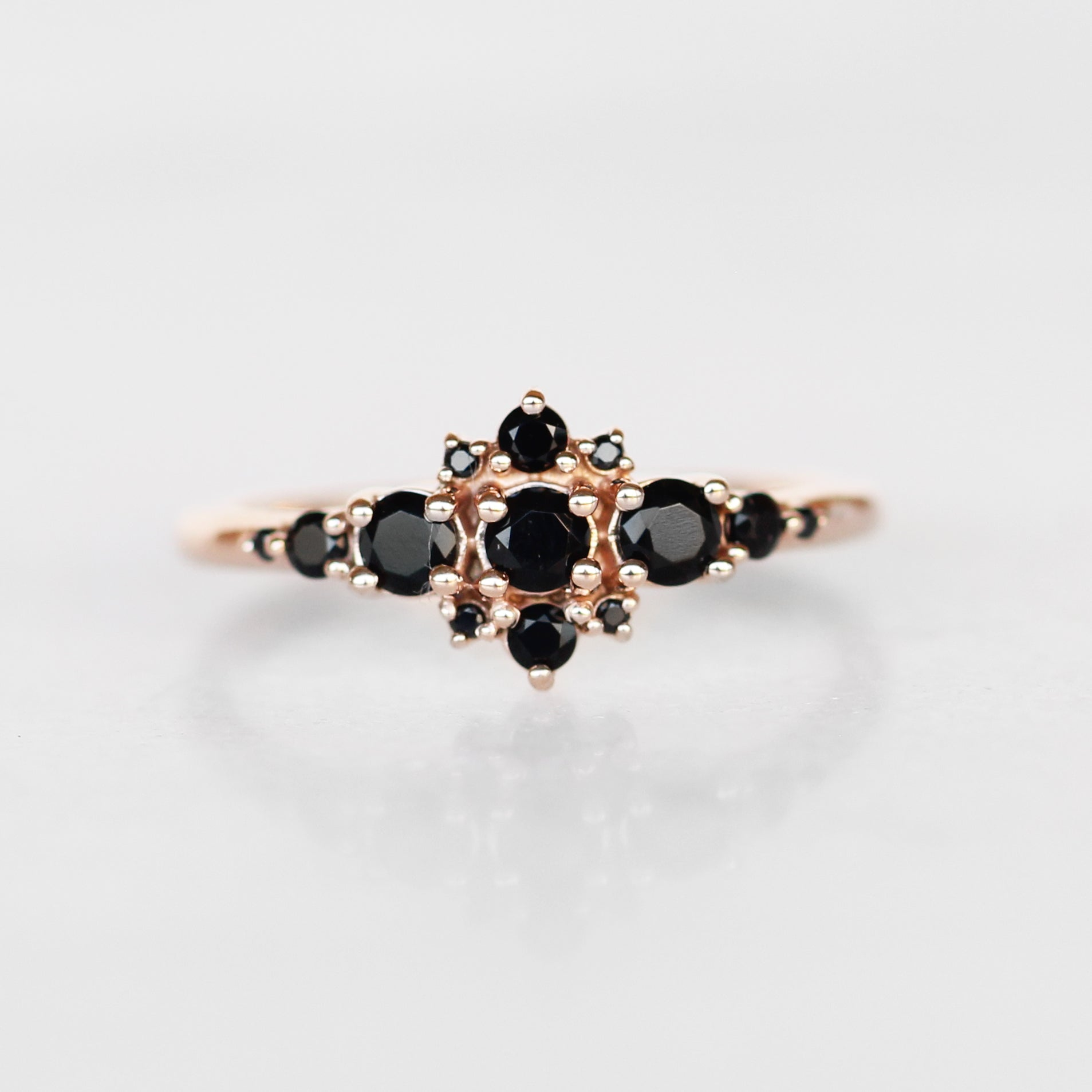 Victoria Ring with Diamonds and Black Onyx in Your Choice of 14k gold - Salt & Pepper Celestial Diamond Engagement Rings and Wedding Bands  by Midwinter Co.