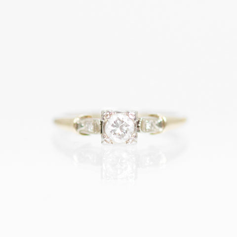 Antique - .30 carat Illusion Vintage Ring in 14k White and Yellow Gold - Ready to Size and Ship
