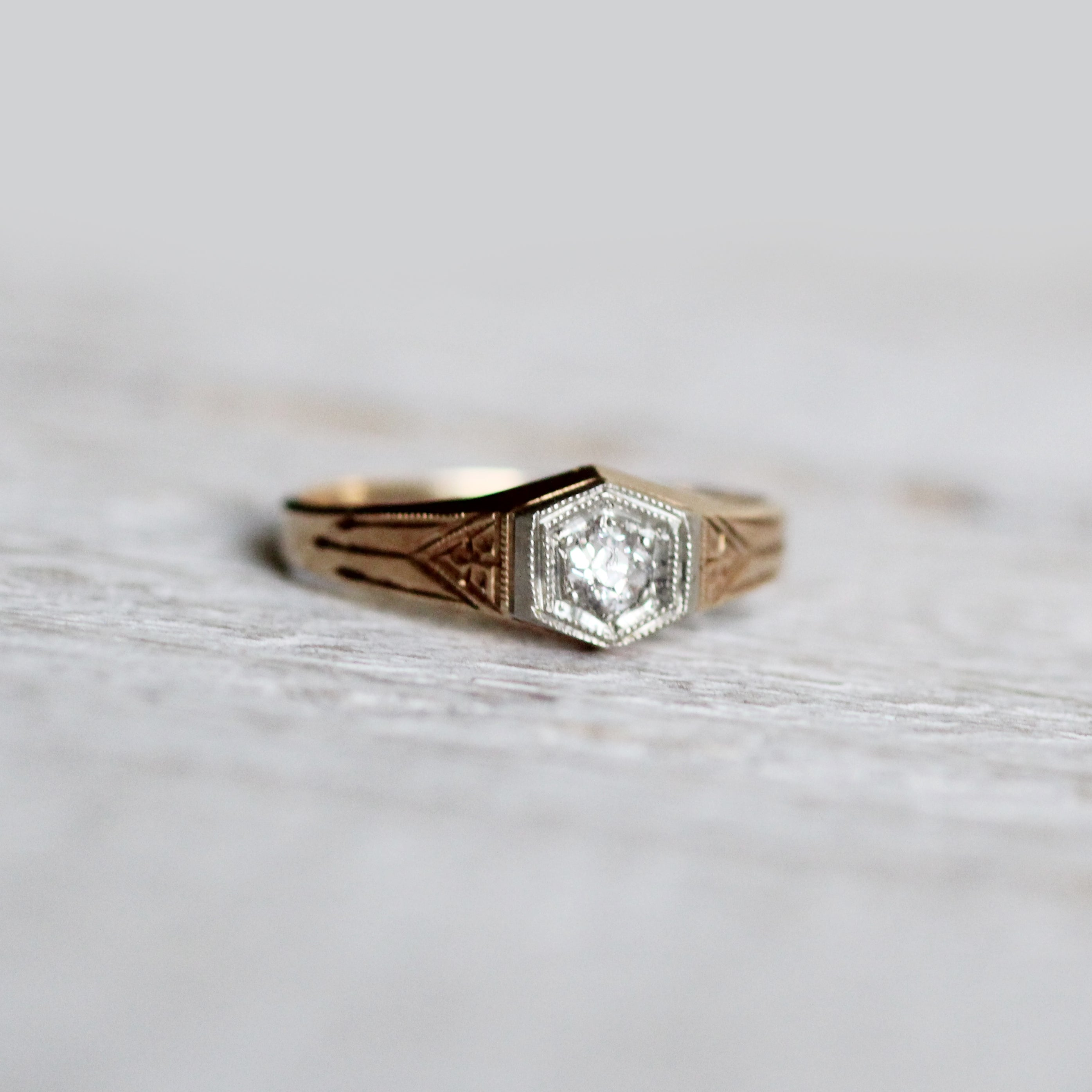Quinten - Antique Hexagon Old Mine Cut Diamond Ring with Etching Engraving Triangles and Geometric Style - Ready to size and ship