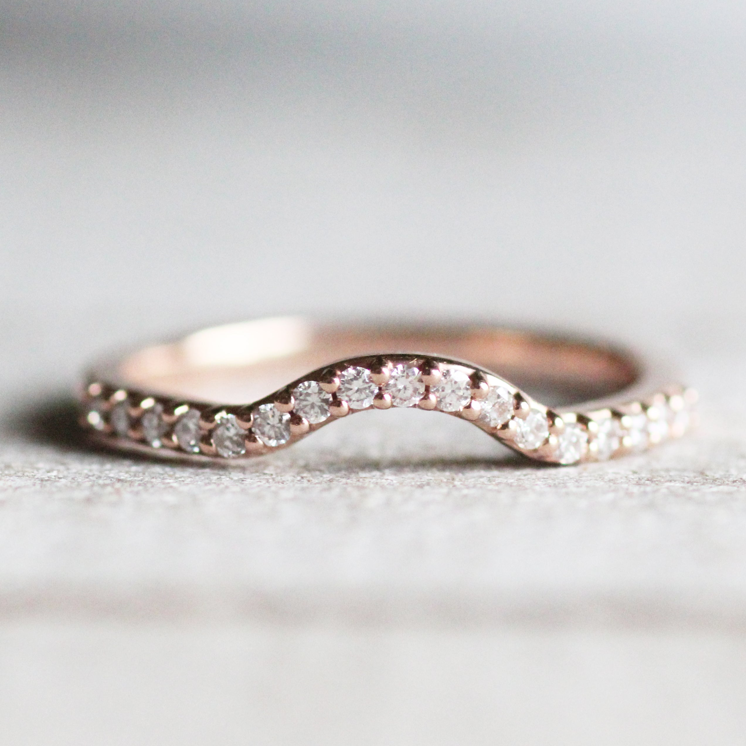 Walsh Wedding Band - Curved Contour Diamond Band - 14K Gold of Choice - Midwinter Co. Alternative Bridal Rings and Modern Fine Jewelry