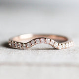 Walsh Wedding Band - Curved Contour Diamond Band - 14K Gold of Choice