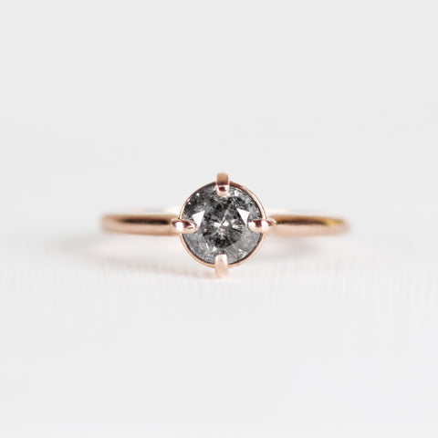 West Ring with dark gray celestial diamond in 10k rose gold - ready to size and ship