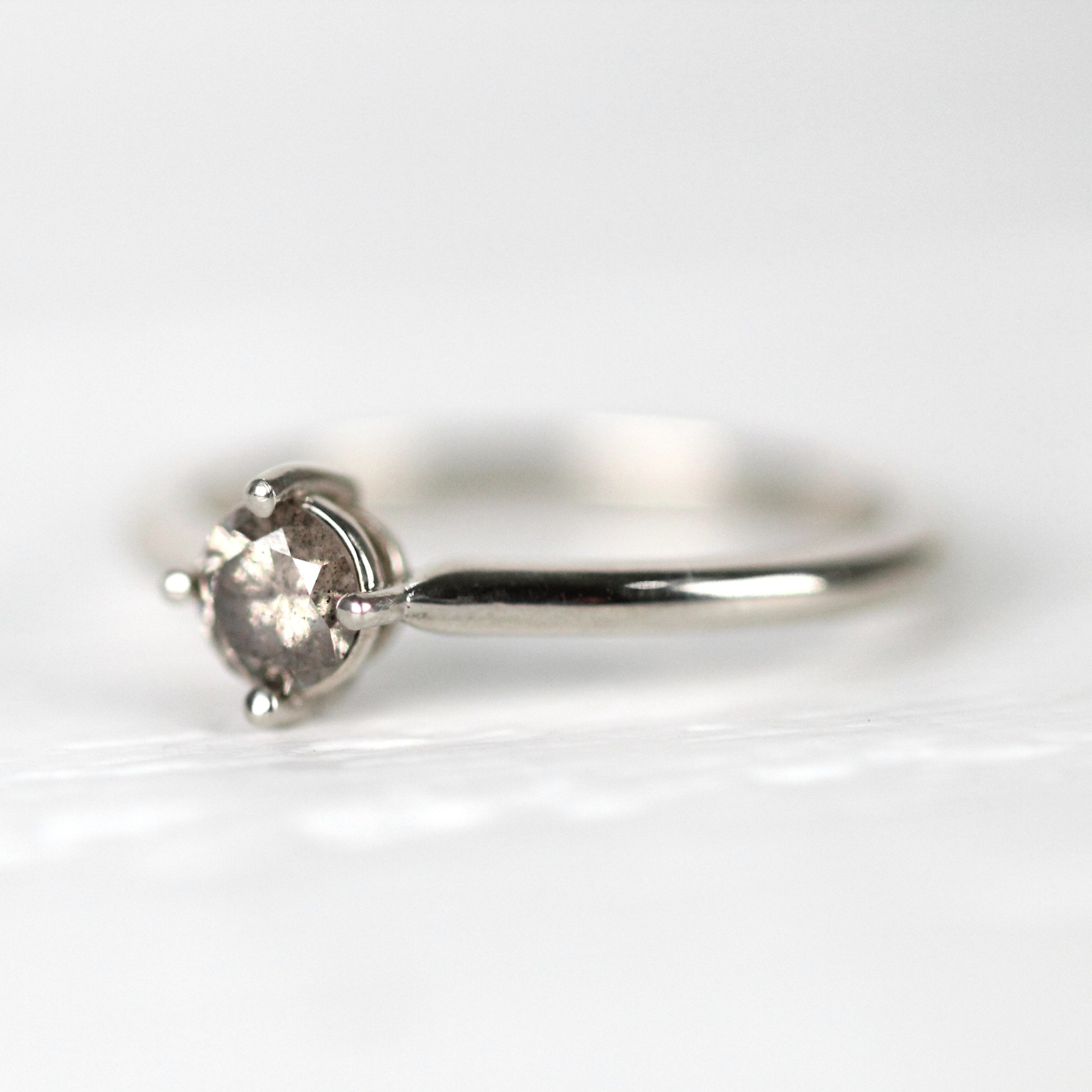 West Ring with .35ct Champagne Diamond in 14k White Gold - ready to size and ship