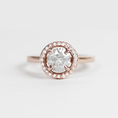 Amara Ring with a Light Gray Diamond in a Clear Diamond Halo - ready to size and ship