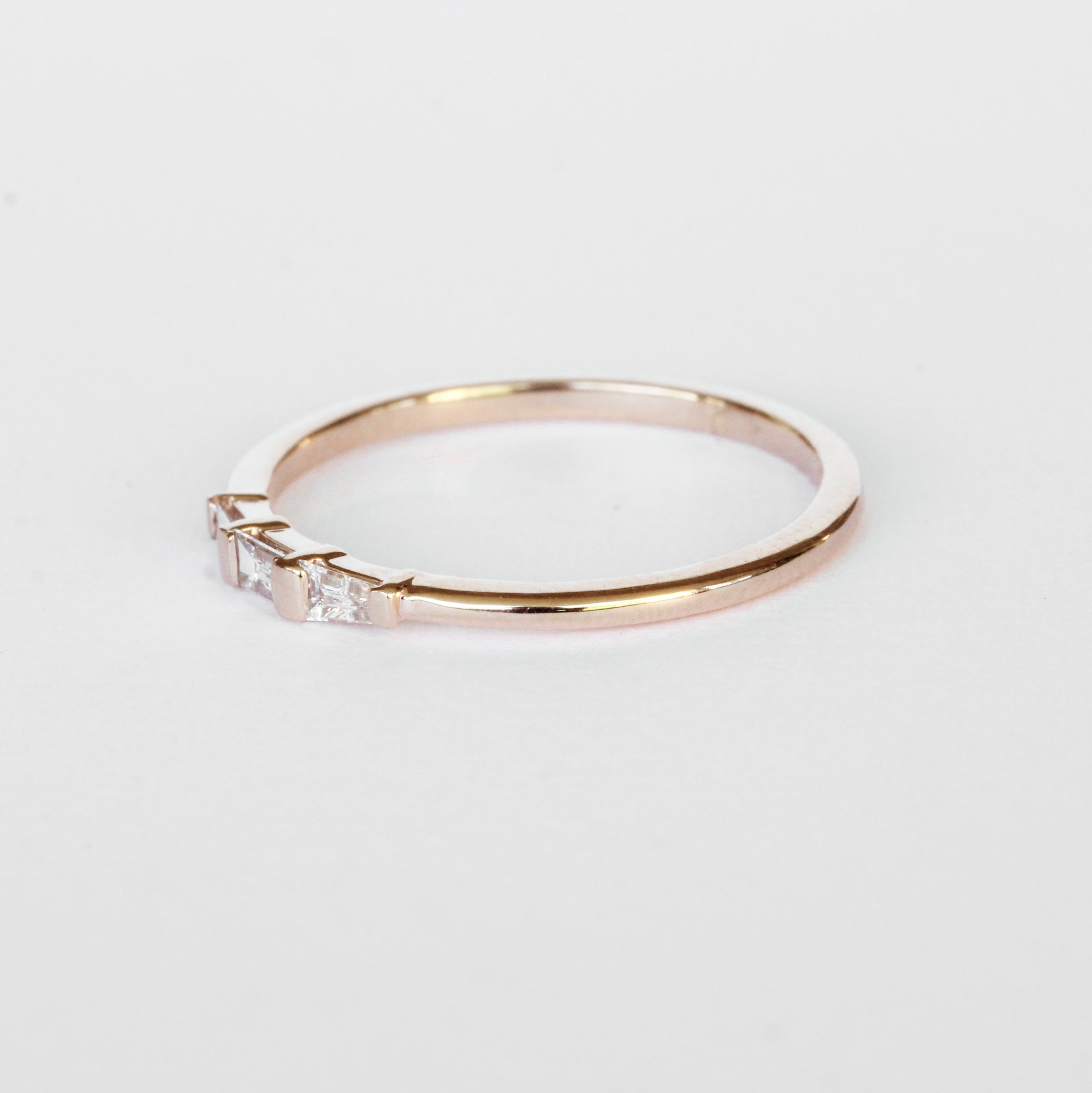 Woodsley Baguette Band Stackable Ring in Your Choice of 14k Gold - Salt & Pepper Celestial Diamond Engagement Rings and Wedding Bands  by Midwinter Co.