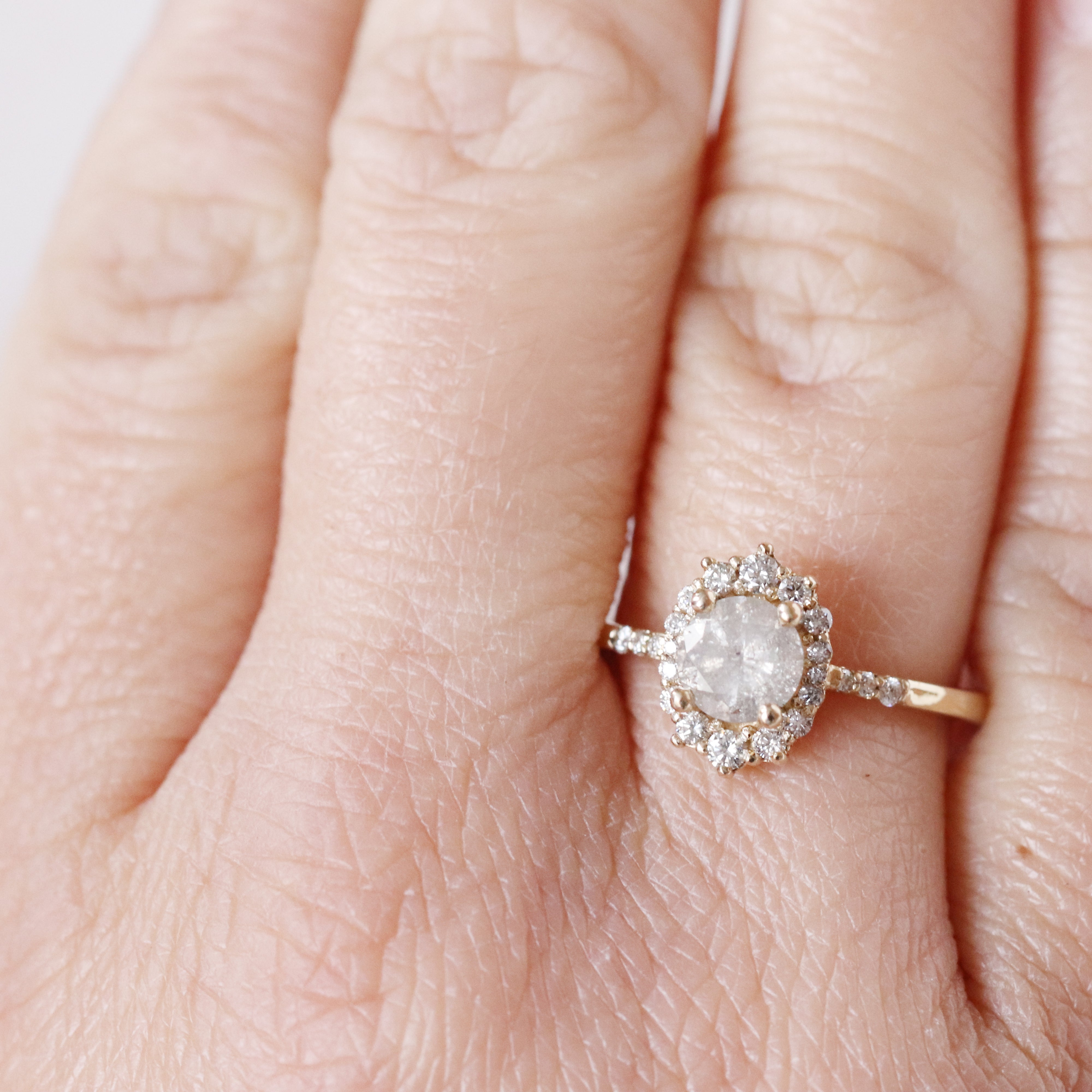 Grace Ring with a .88 Carat Celestial Diamond and Side Stones and Halo in 14k Yellow Gold - Ready to Size and Ship - Salt & Pepper Celestial Diamond Engagement Rings and Wedding Bands  by Midwinter Co.