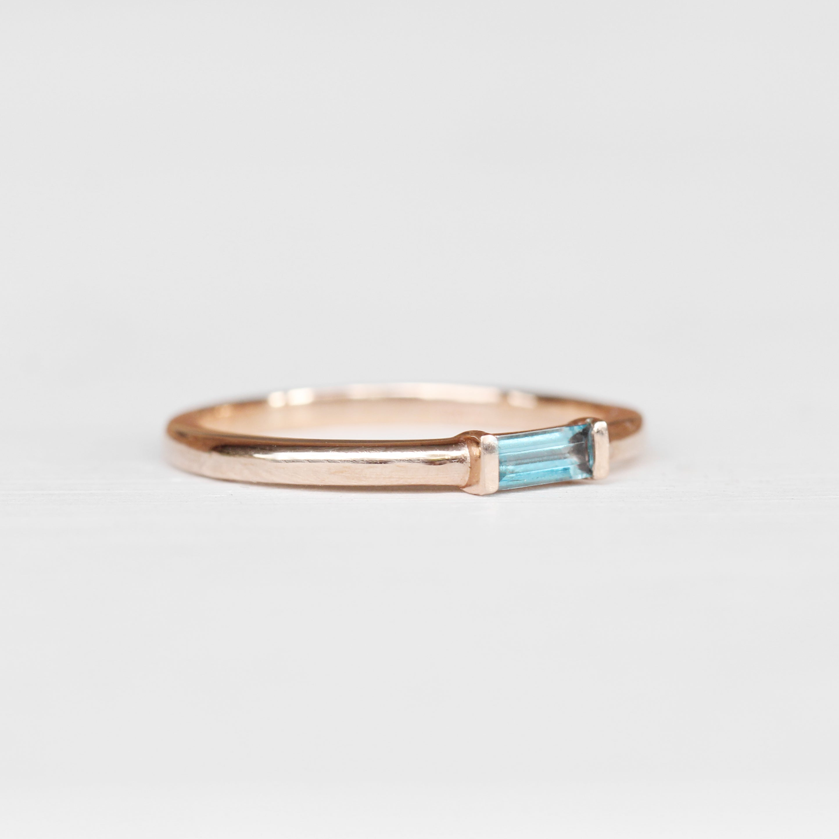 Yael Minimal Baguette Ring - London Blue Topaz Band Stackable Ring in Your Choice of 14k Gold - Celestial Diamonds ® by Midwinter Co.