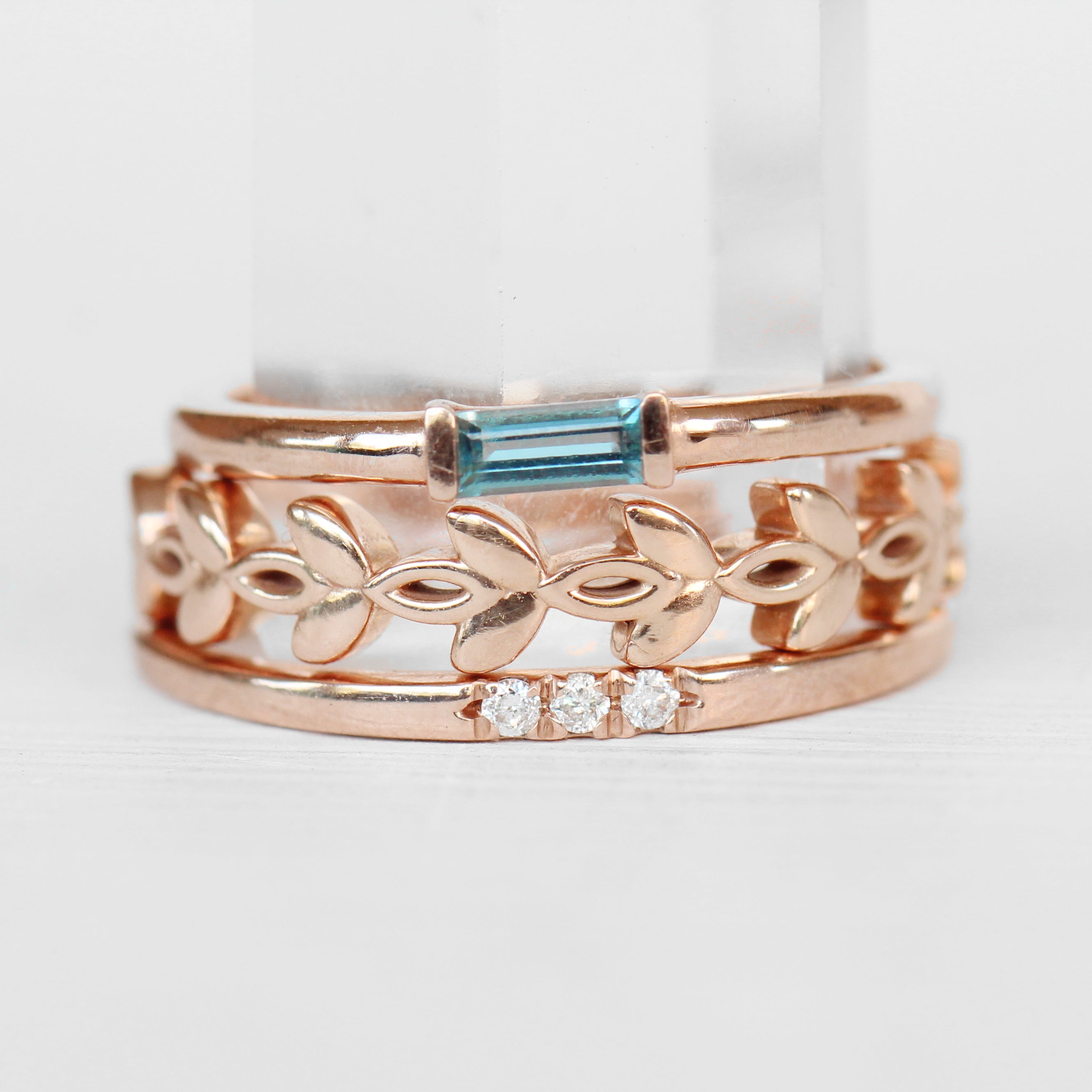 Yael Minimal Baguette Ring - London Blue Topaz Band Stackable Ring in Your Choice of 14k Gold - Midwinter Co. Alternative Bridal Rings and Modern Fine Jewelry