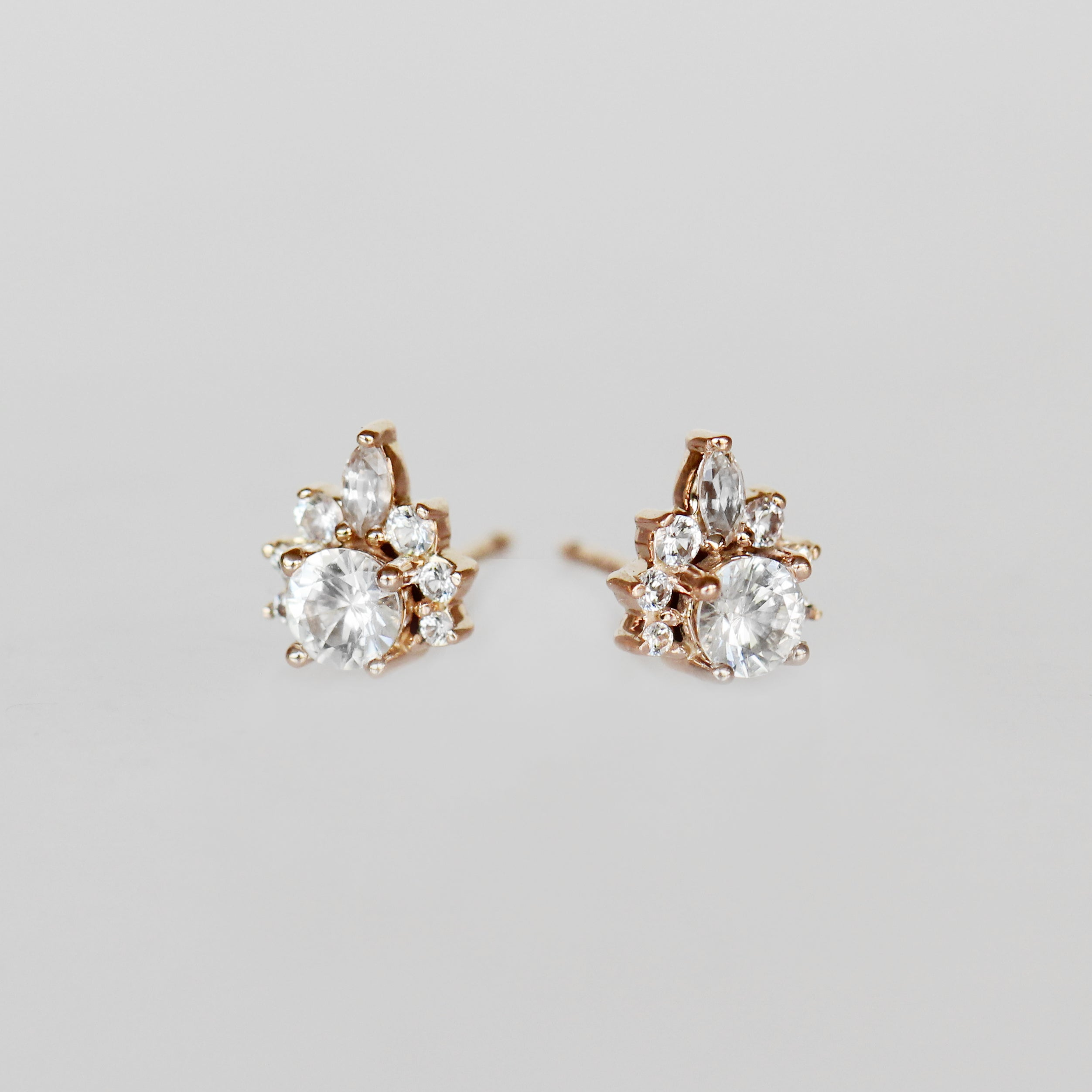 Zoe Earrings with White Sapphires- 14k Rose Gold- Ready to Ship - Celestial Diamonds ® by Midwinter Co.