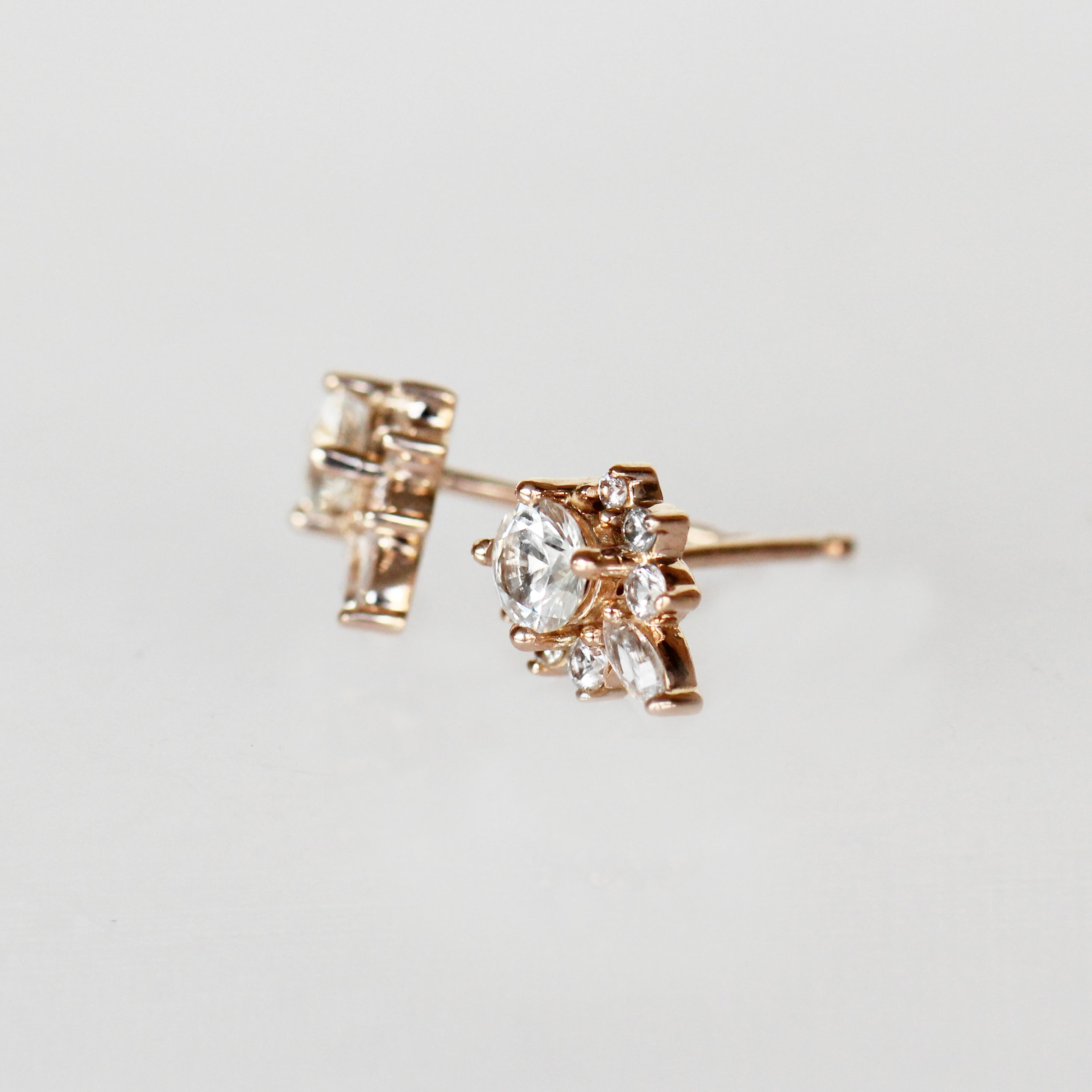 Zoe Earrings with White Sapphires- 14k Rose Gold- Ready to Ship - Salt & Pepper Celestial Diamond Engagement Rings and Wedding Bands  by Midwinter Co.