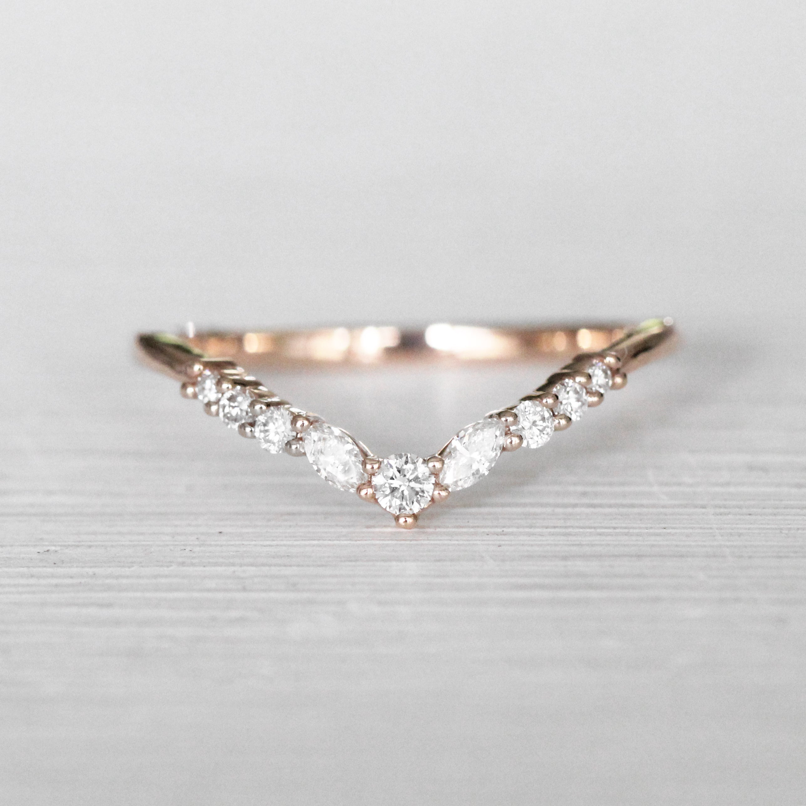 Ainsley V-Contoured Stackable Wedding Band - Made to Order - Salt & Pepper Celestial Diamond Engagement Rings and Wedding Bands  by Midwinter Co.