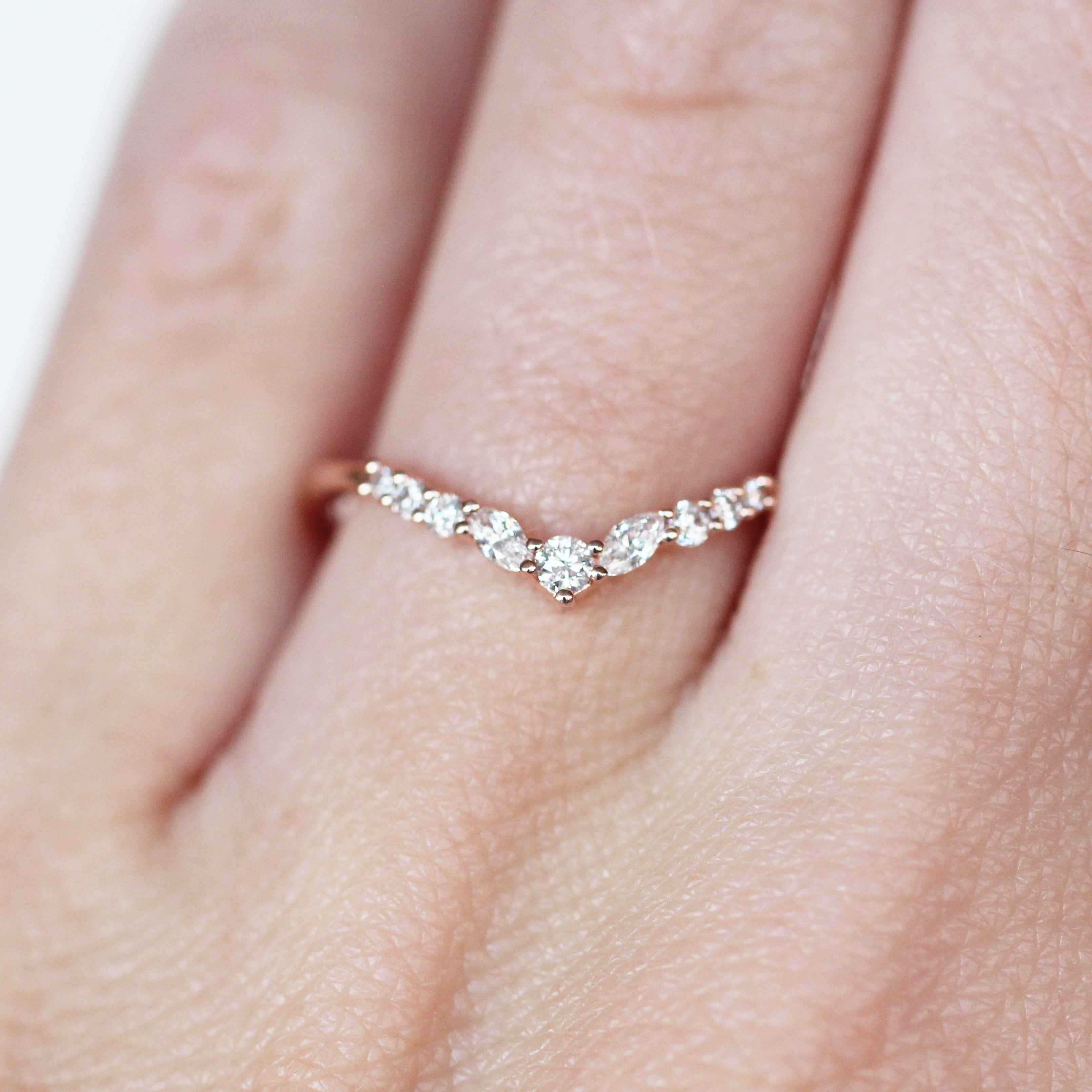 Ainsley V-Contoured Stackable Wedding Band - Made to Order - Celestial Diamonds ® by Midwinter Co.