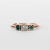 Altheda Ring with Misty Gray and Aqua Blue Diamonds in 10k Rose Gold - Ready to Size and Ship - Celestial Diamonds ® by Midwinter Co.