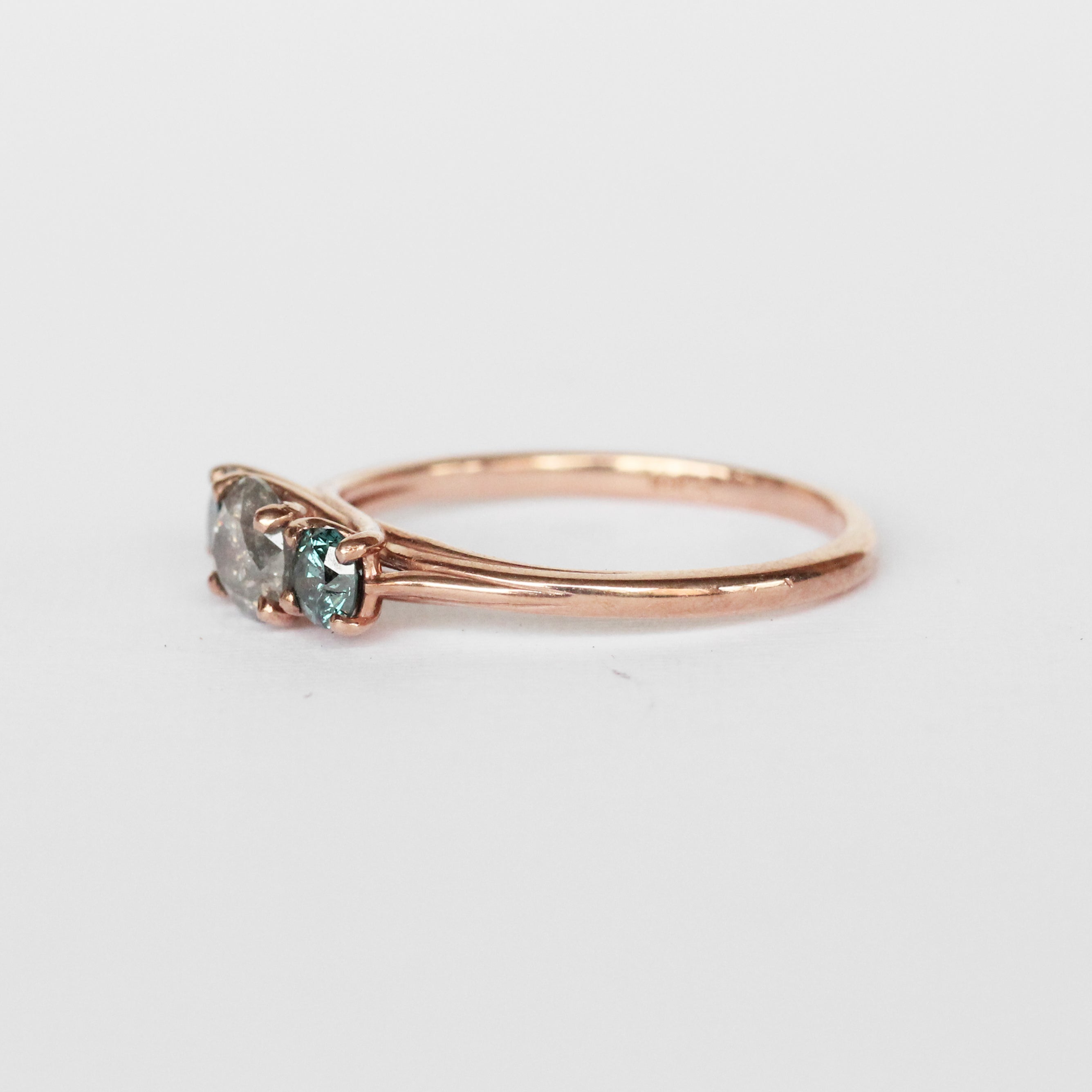Altheda Ring with Misty Gray and Aqua Blue Diamonds in 10k Rose Gold - Ready to Size and Ship - Salt & Pepper Celestial Diamond Engagement Rings and Wedding Bands  by Midwinter Co.