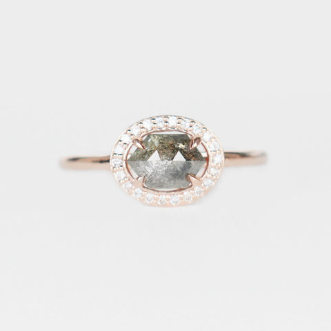 Amara with a Gray Champagne Diamond in a Clear Diamond Halo - ready to size and ship