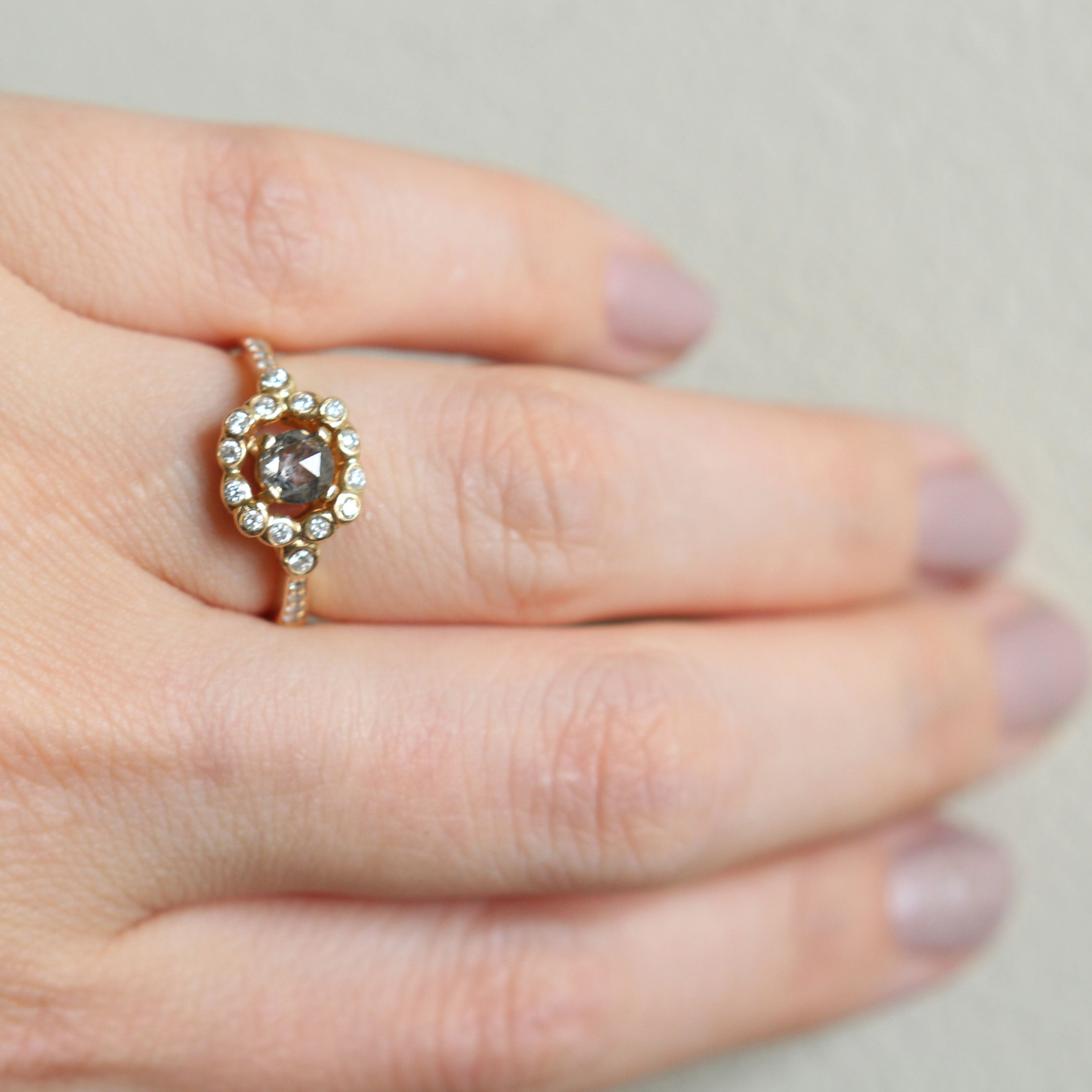 Marie - Bezel Halo Antique Style Diamond Ring - 14k yellow gold - Ready to size and ship