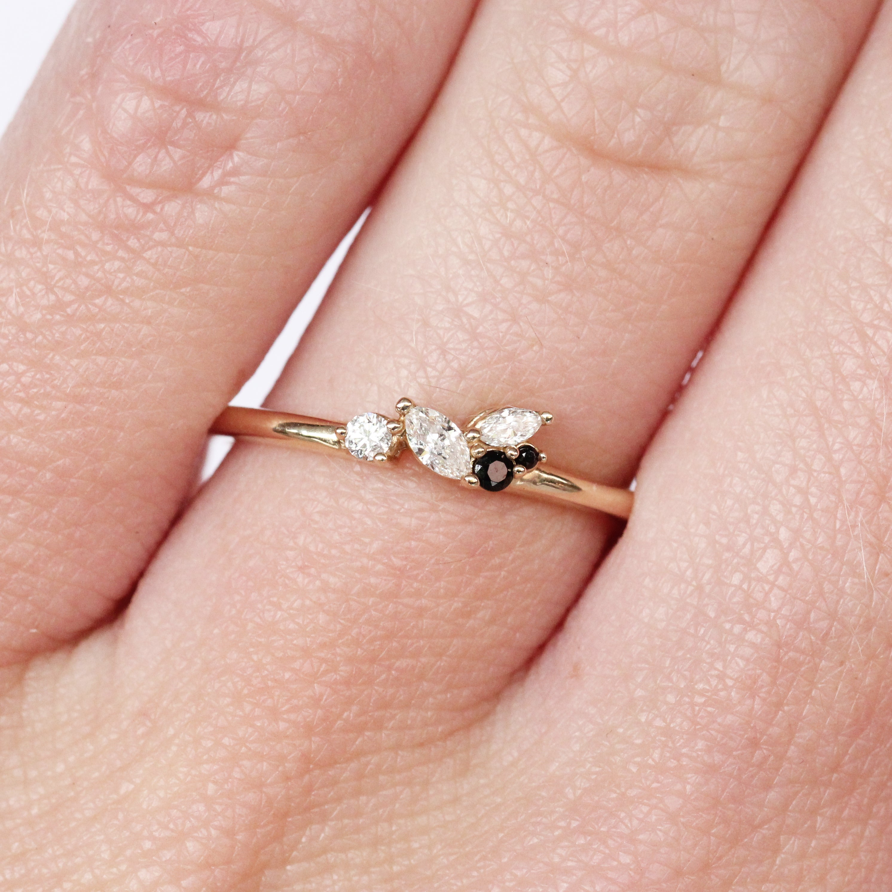 Anna Cluster Stackable or Wedding Ring - Your choice of metal - Custom - Salt & Pepper Celestial Diamond Engagement Rings and Wedding Bands  by Midwinter Co.