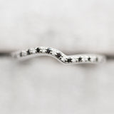 Wave -  black and white diamond White Gold band in size 5 - Ready to ship