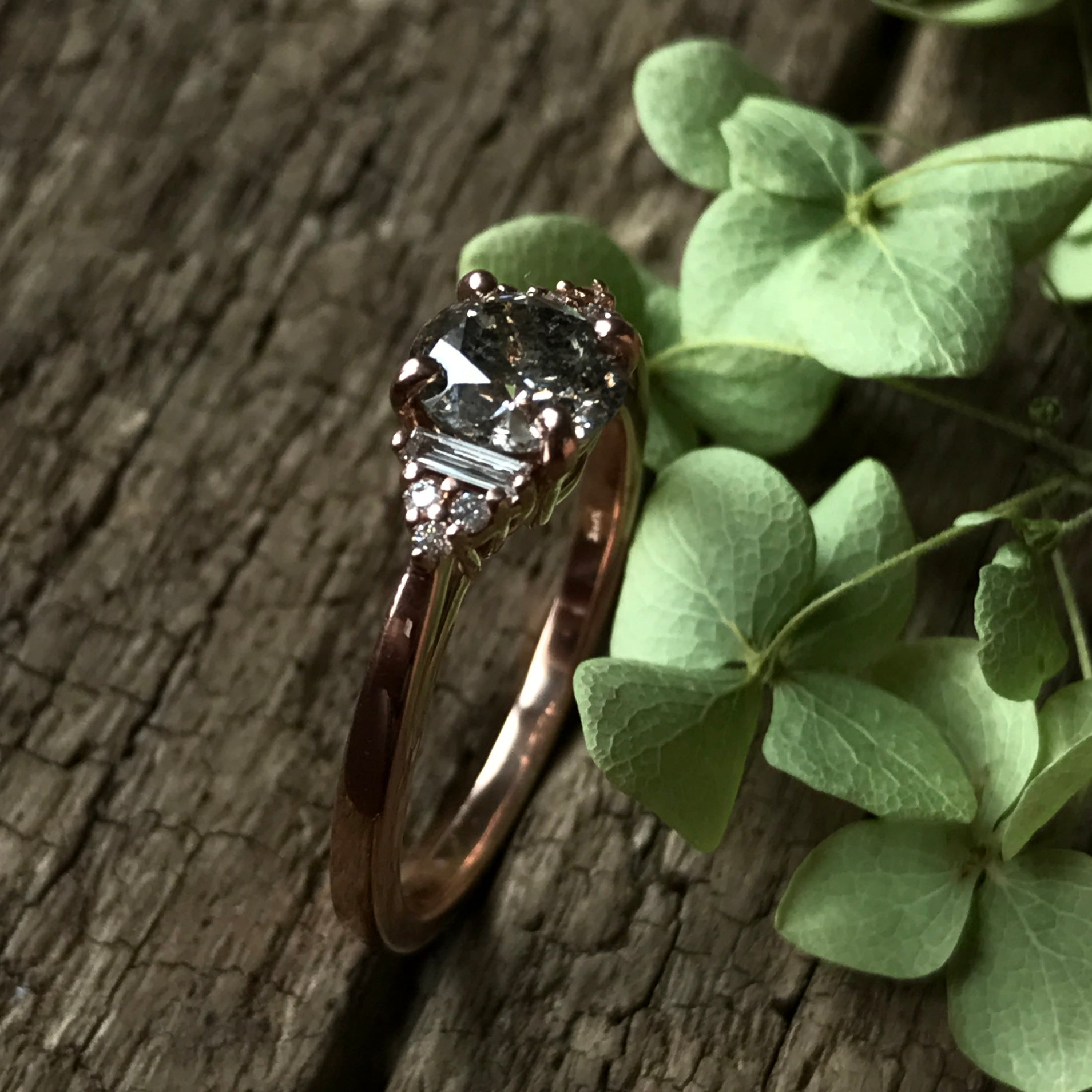 Autumn Setting - Salt & Pepper Celestial Diamond Engagement Rings and Wedding Bands  by Midwinter Co.