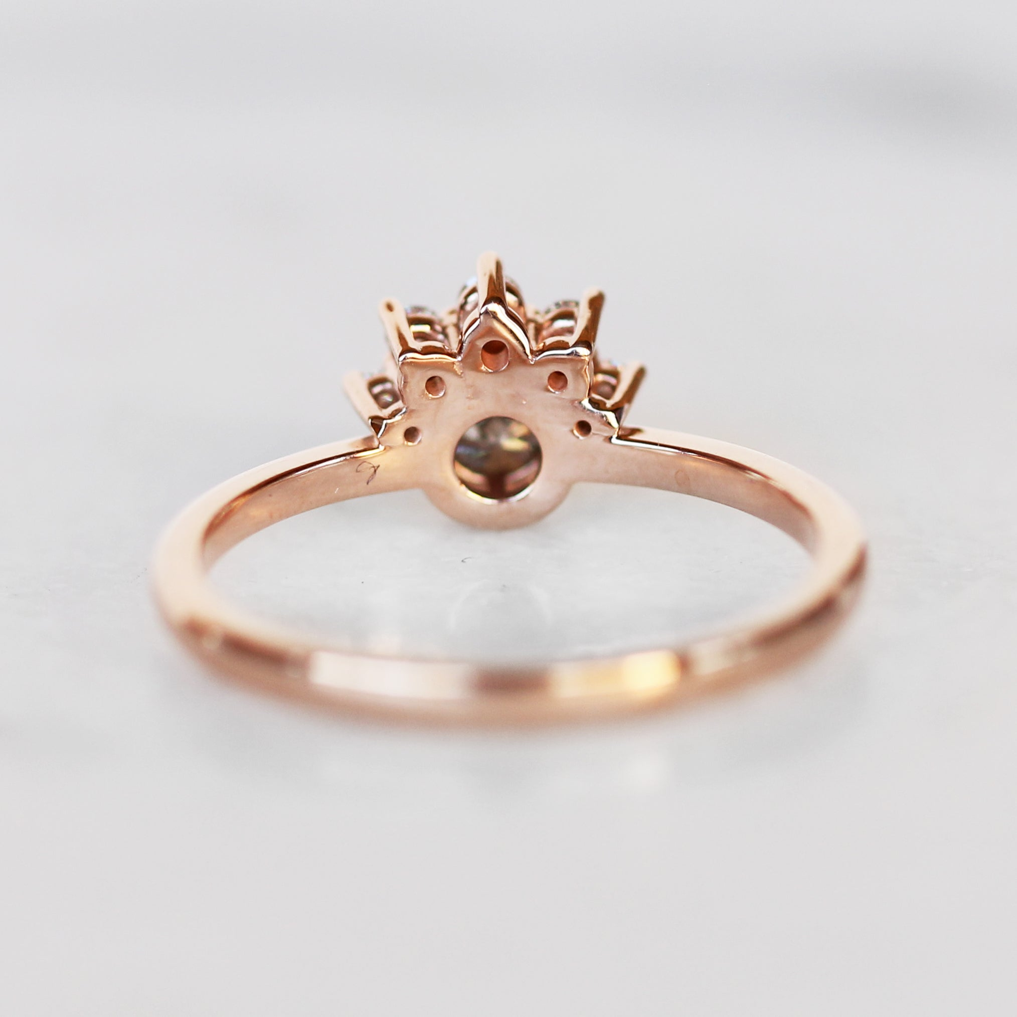 Ashlyn Ring with Light Gray Celestial Diamond in 10k Rose Gold - Ready to Size and Ship - Salt & Pepper Celestial Diamond Engagement Rings and Wedding Bands  by Midwinter Co.
