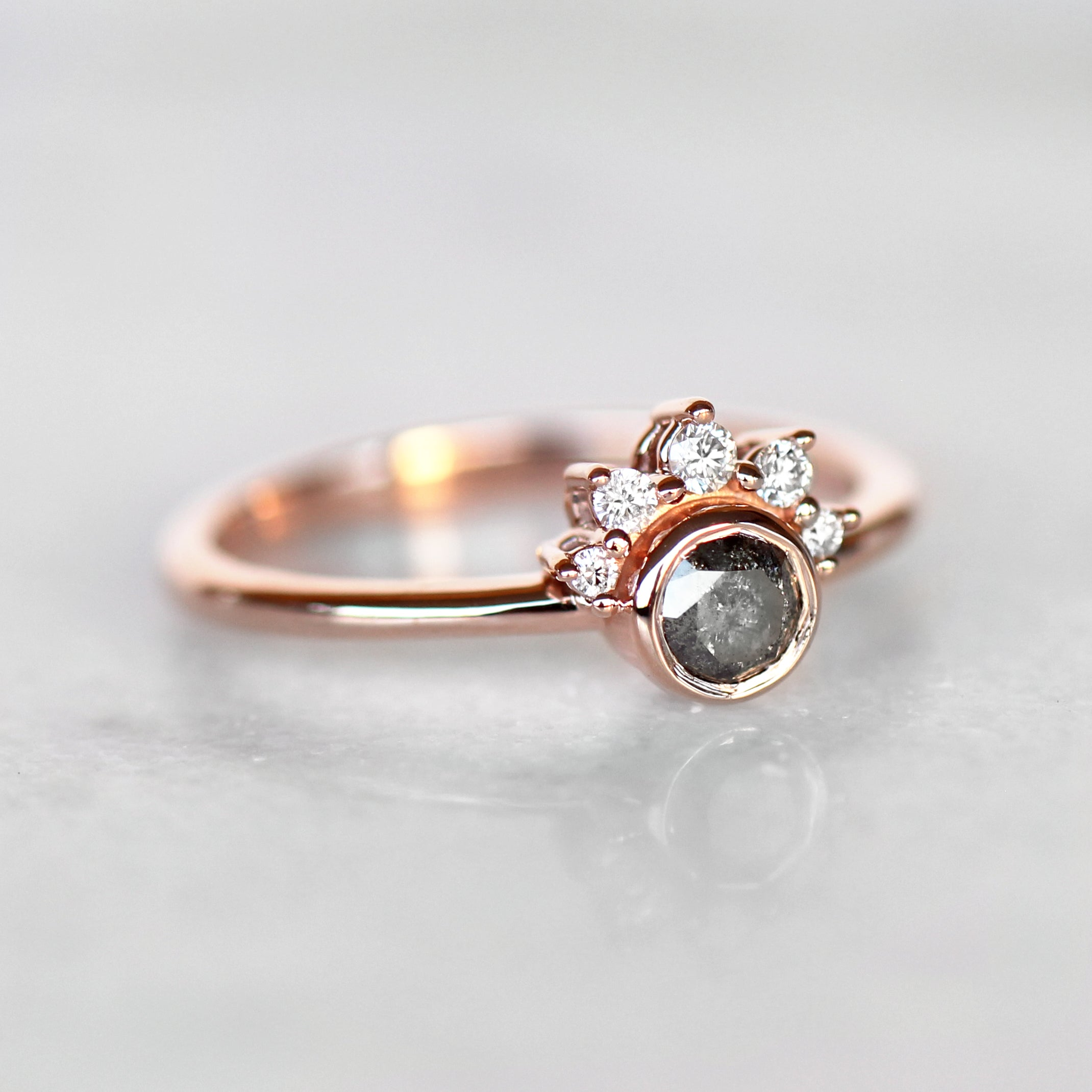 Ashlyn Ring with Gray Celestial Diamond in 10k Rose Gold- Ready to Size and Ship - Celestial Diamonds ® by Midwinter Co.