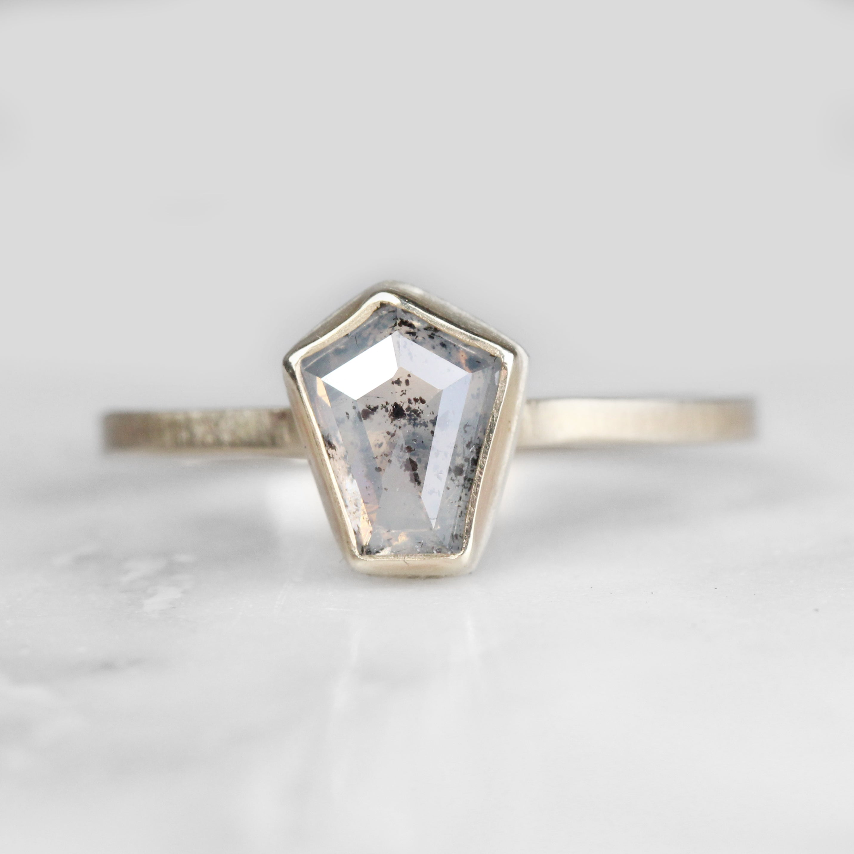 .75 carat milky gray / white pentagon geometric bezel set diamond solitaire ring - ready to size and ship - Celestial Diamonds ® by Midwinter Co.