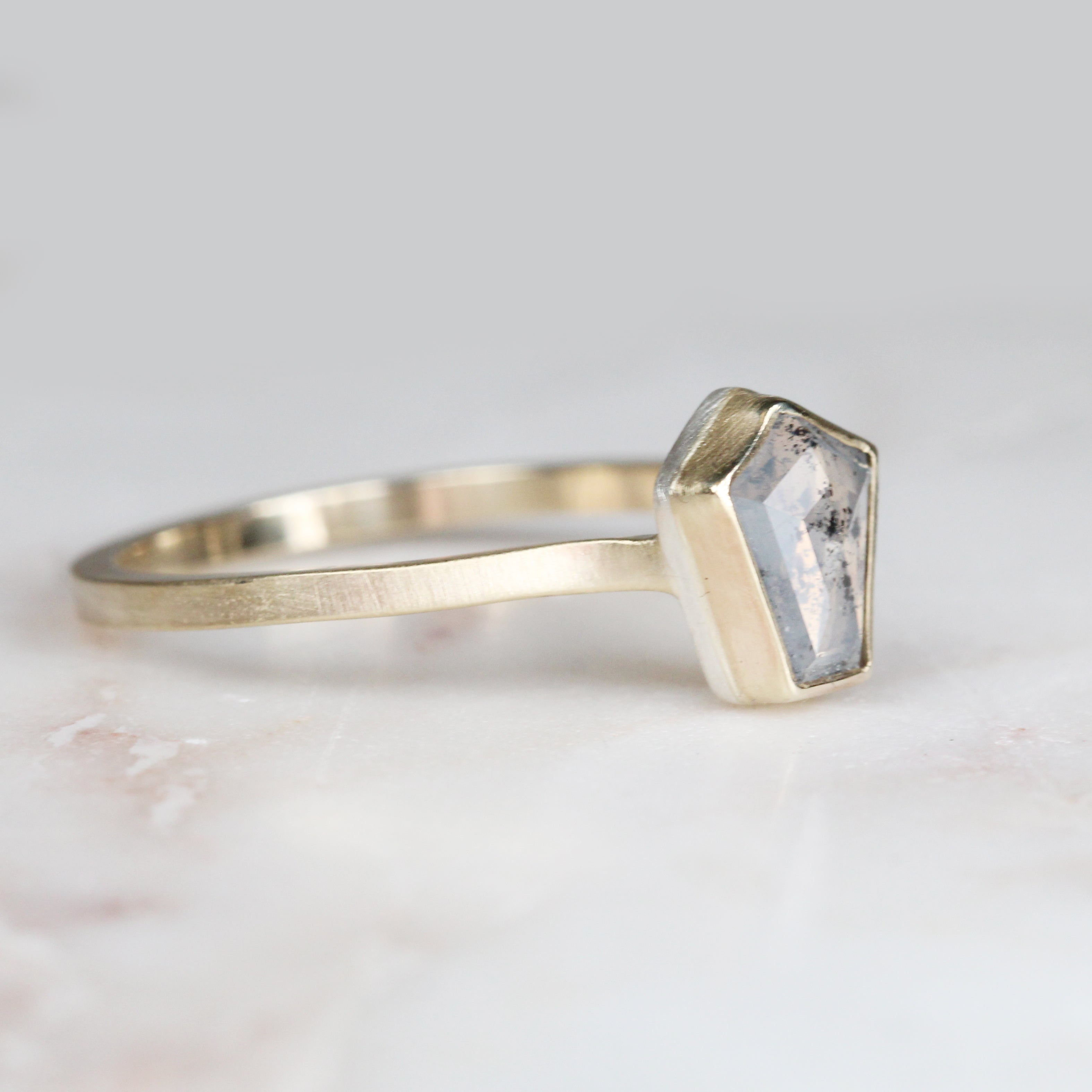 .75 carat milky gray / white pentagon geometric bezel set diamond solitaire ring - ready to size and ship - Salt & Pepper Celestial Diamond Engagement Rings and Wedding Bands  by Midwinter Co.