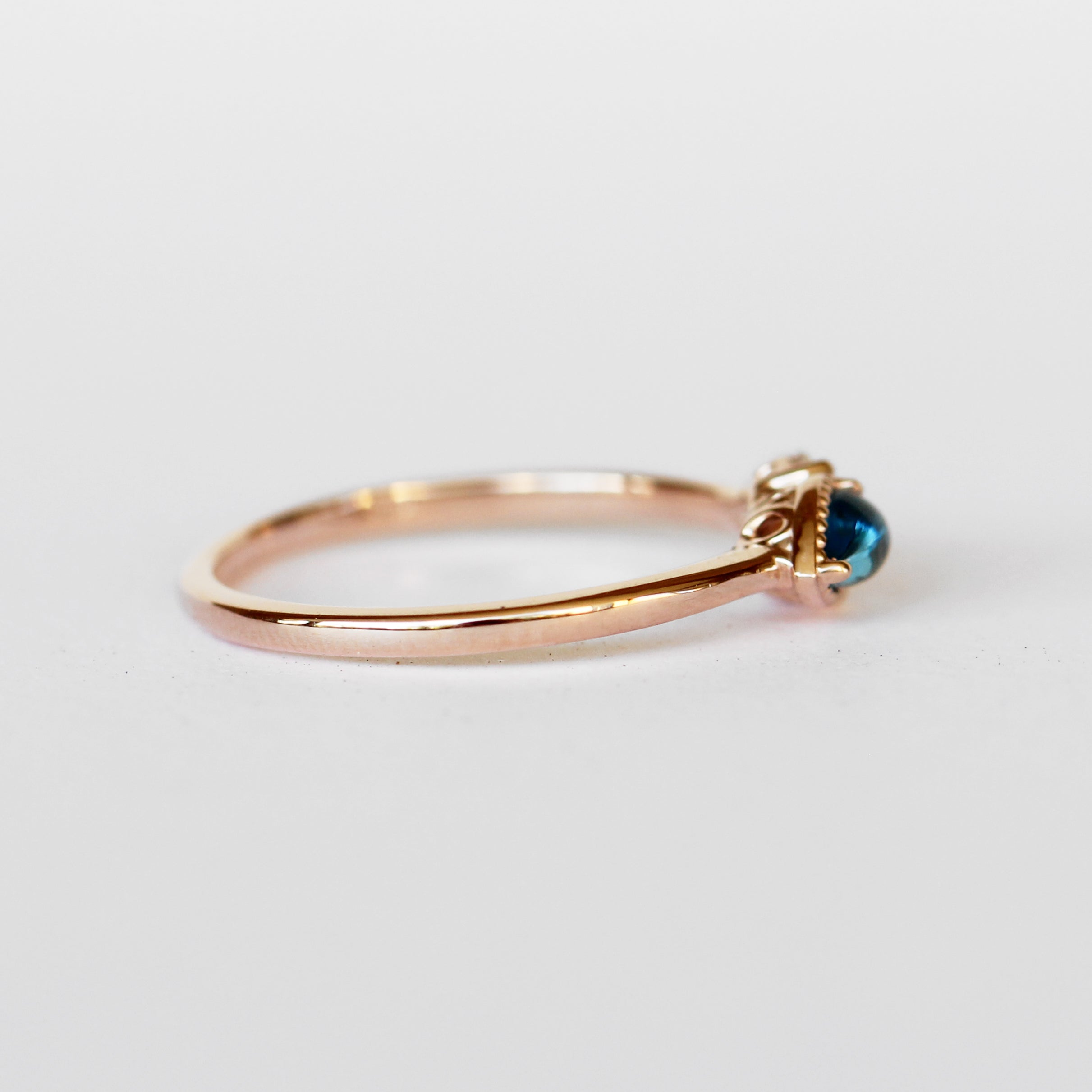 Ariana Ring with Sapphire Marquise + London Blue Topaz Pear in 10k Rose Gold - Ready to Size and Ship - Celestial Diamonds ® by Midwinter Co.