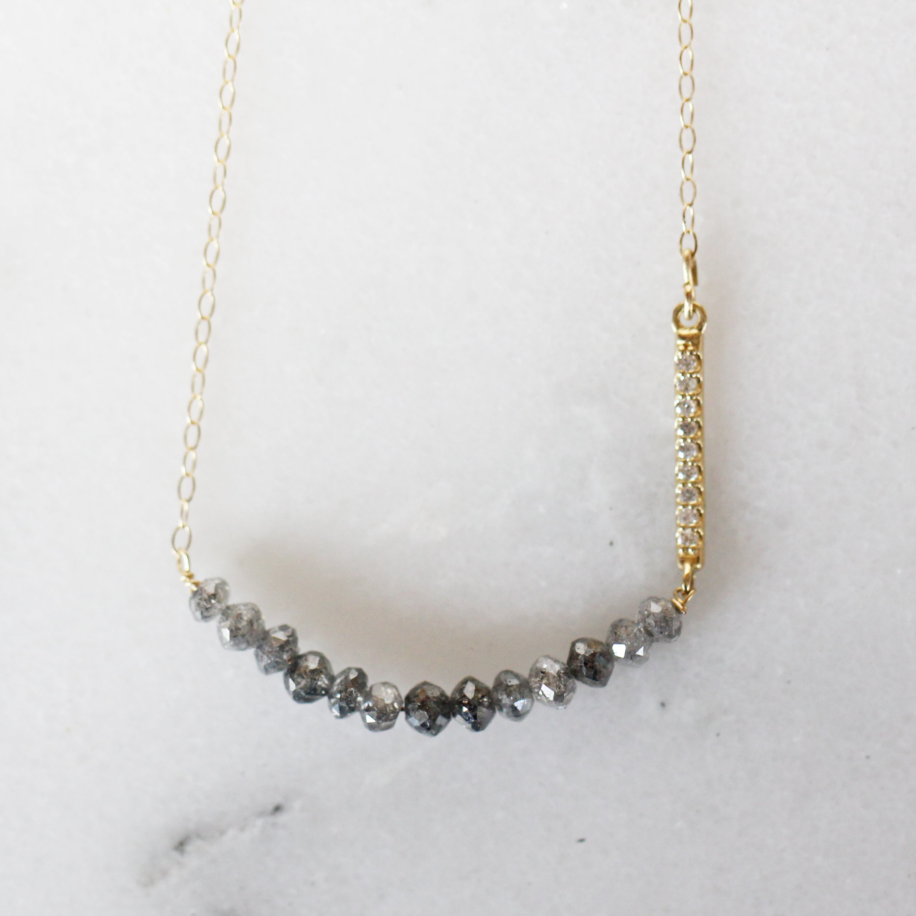 Brielle - Celestial and Clear Diamond in 14k Yellow Gold Necklace - Ready to Ship - Midwinter Co. Alternative Bridal Rings and Modern Fine Jewelry