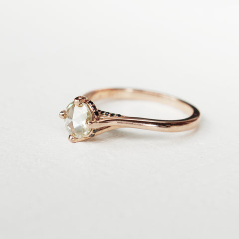 Champagne Moissanite Solitaire with hidden black diamonds in 10k rose gold - ready to ship in size 7