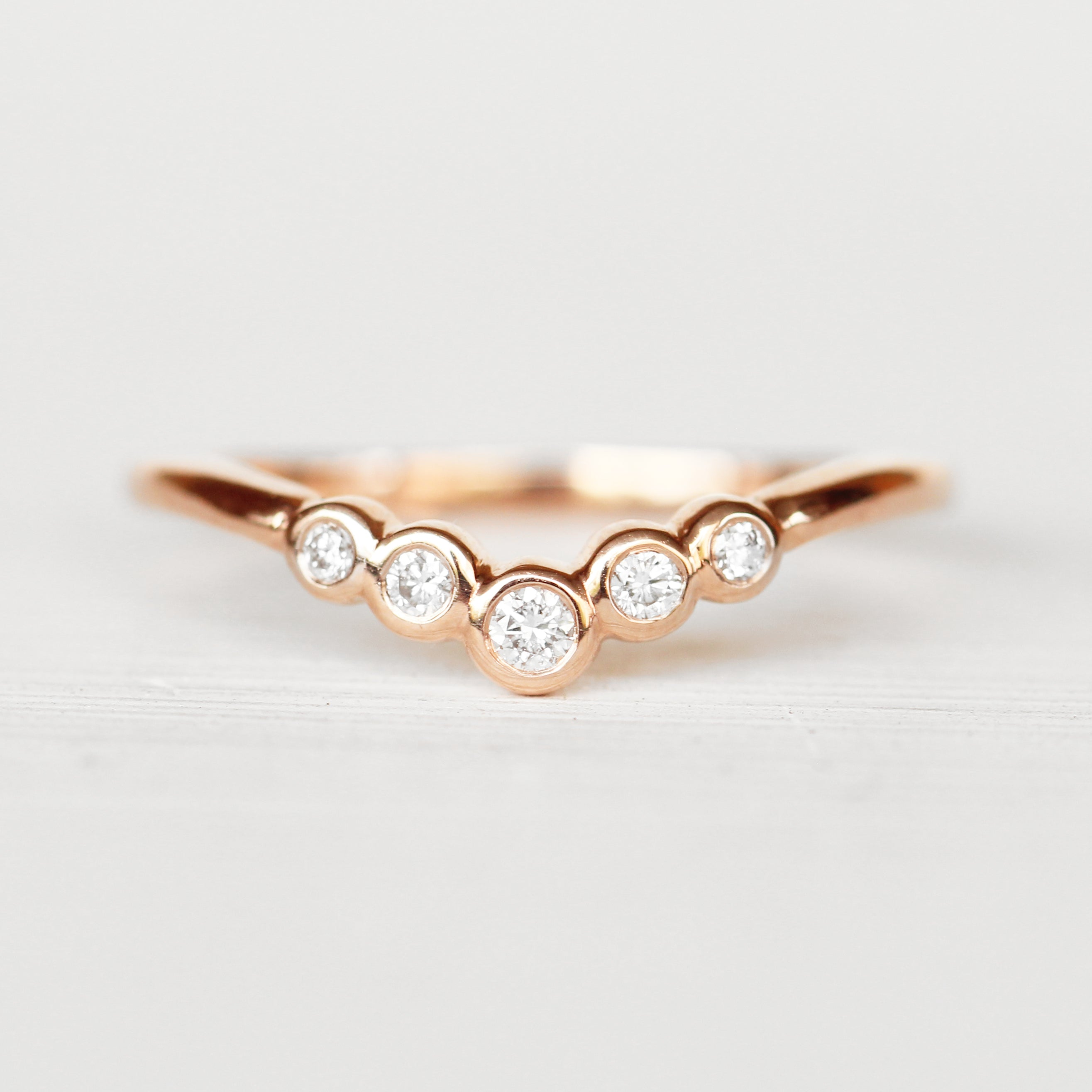 Colette V-Contoured Bezel-Set Stackable Wedding Band - Made to Order - Celestial Diamonds ® by Midwinter Co.