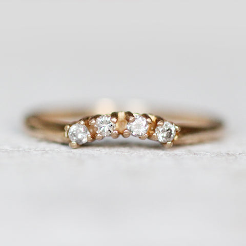 14k yellow gold curved diamond band - Ready to size and ship