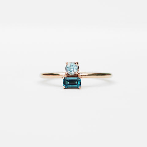 Darla - Aquamarine and Topaz Asymmetrical Double Ring - Your choice of metal - Custom