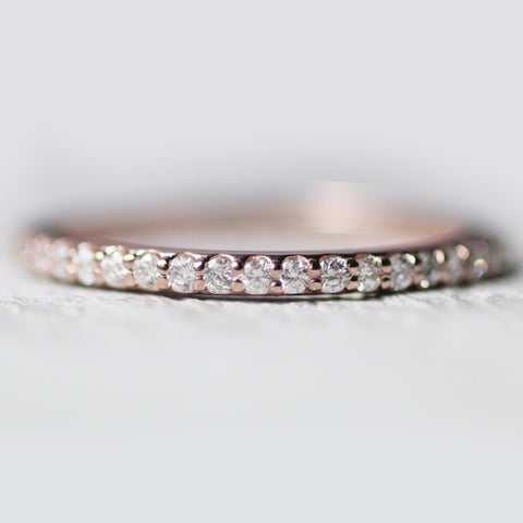 Constance - Pave set, minimal diamond wedding stacking band