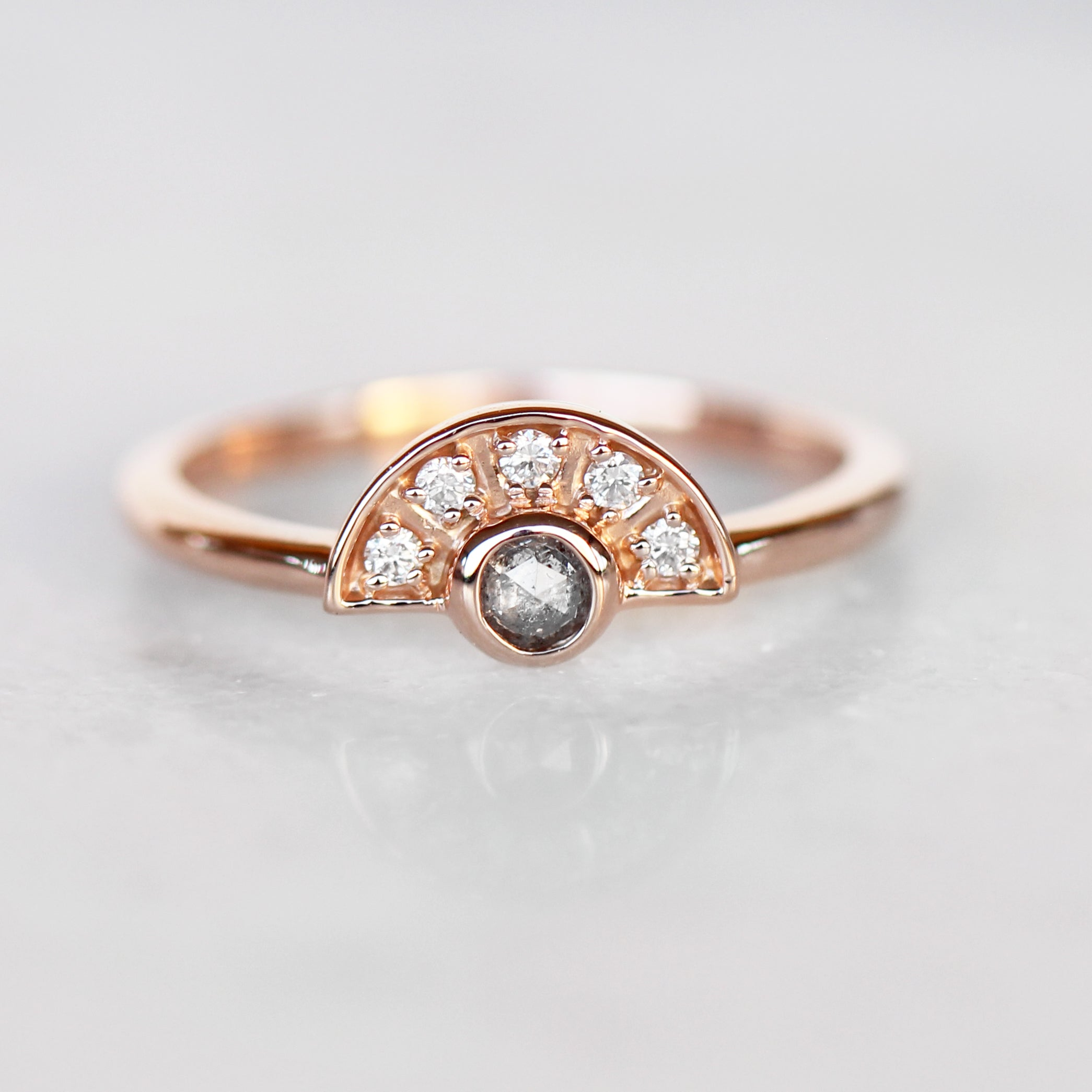 Dottie Ring with Round Gray Celestial Diamond Stackable or Wedding band- Ready to Size and Ship - Celestial Diamonds ® by Midwinter Co.
